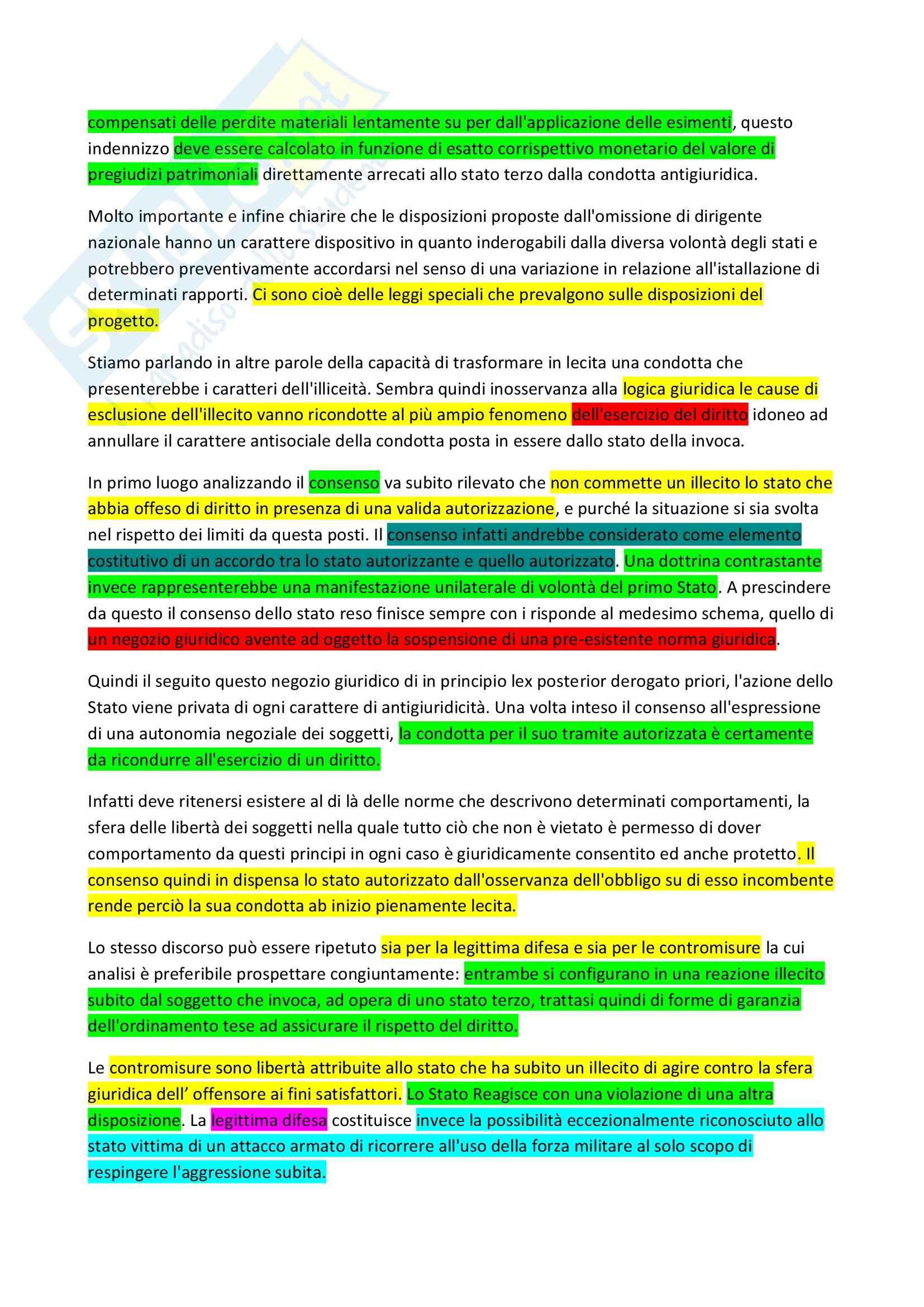 Riassunto esame Diritto, prof. Scalese, libro consigliato La rilevanza delle scusanti nella teoria dell'illecito internazionale Pag. 2
