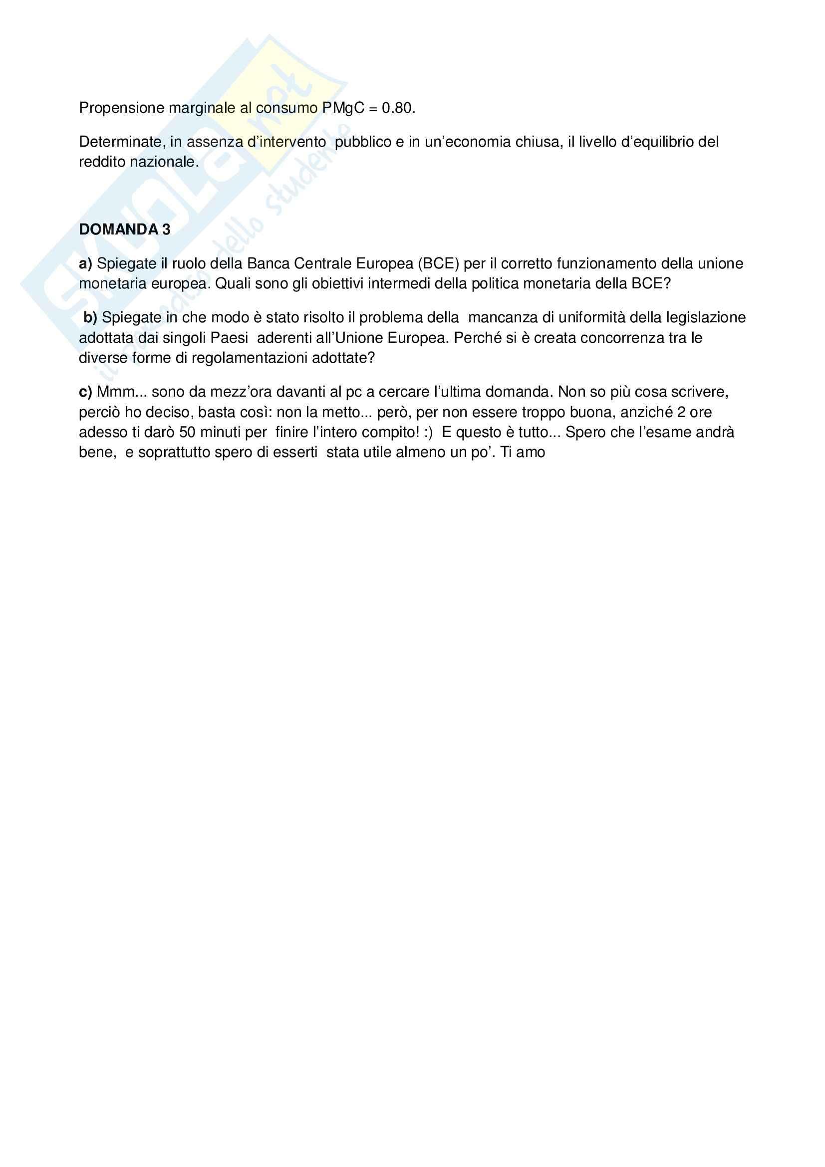 Economia Politica – Simulazione esame Pag. 6