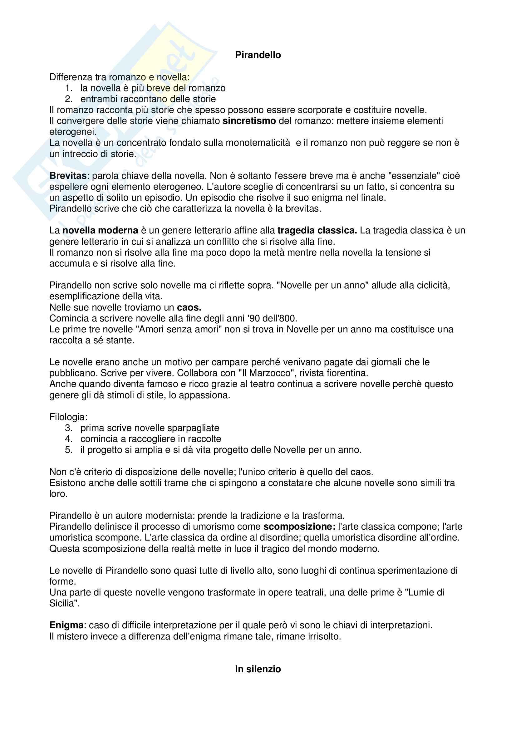 Riassunto esame Letteratura contemporanea, docente Rappazzo, libro consigliato In Silenzio, Pirandello