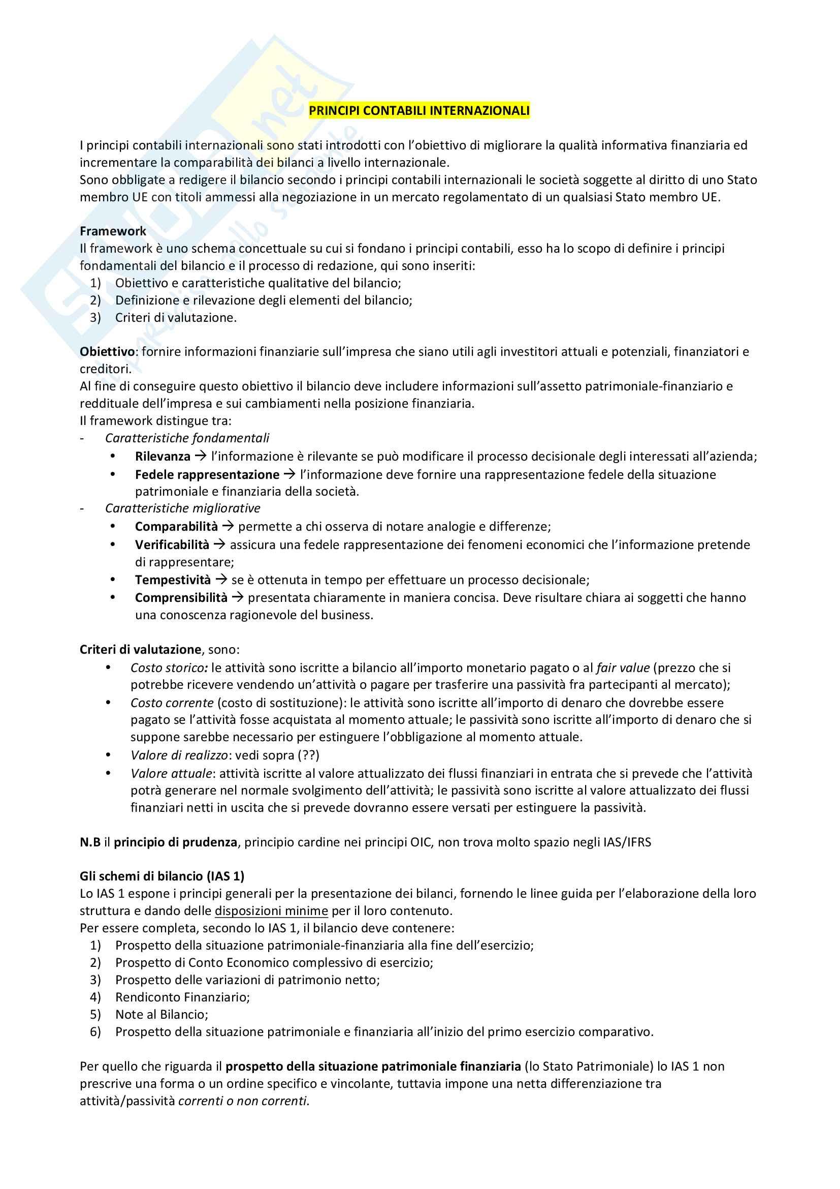 IAS/IFRS I principi contabili intenazionali