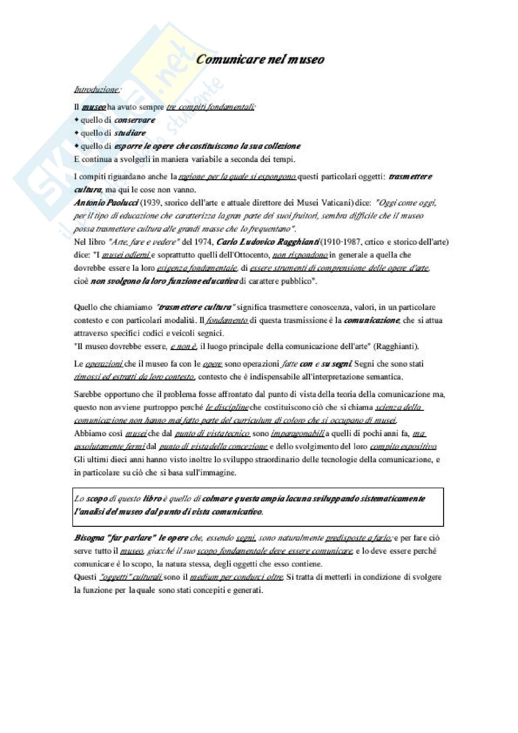 """Riassunto esame Camunicazione espositiva, prof Samorì, libro consigliato""""Comunicare nel museo"""", autore Francesco Antinucci"""