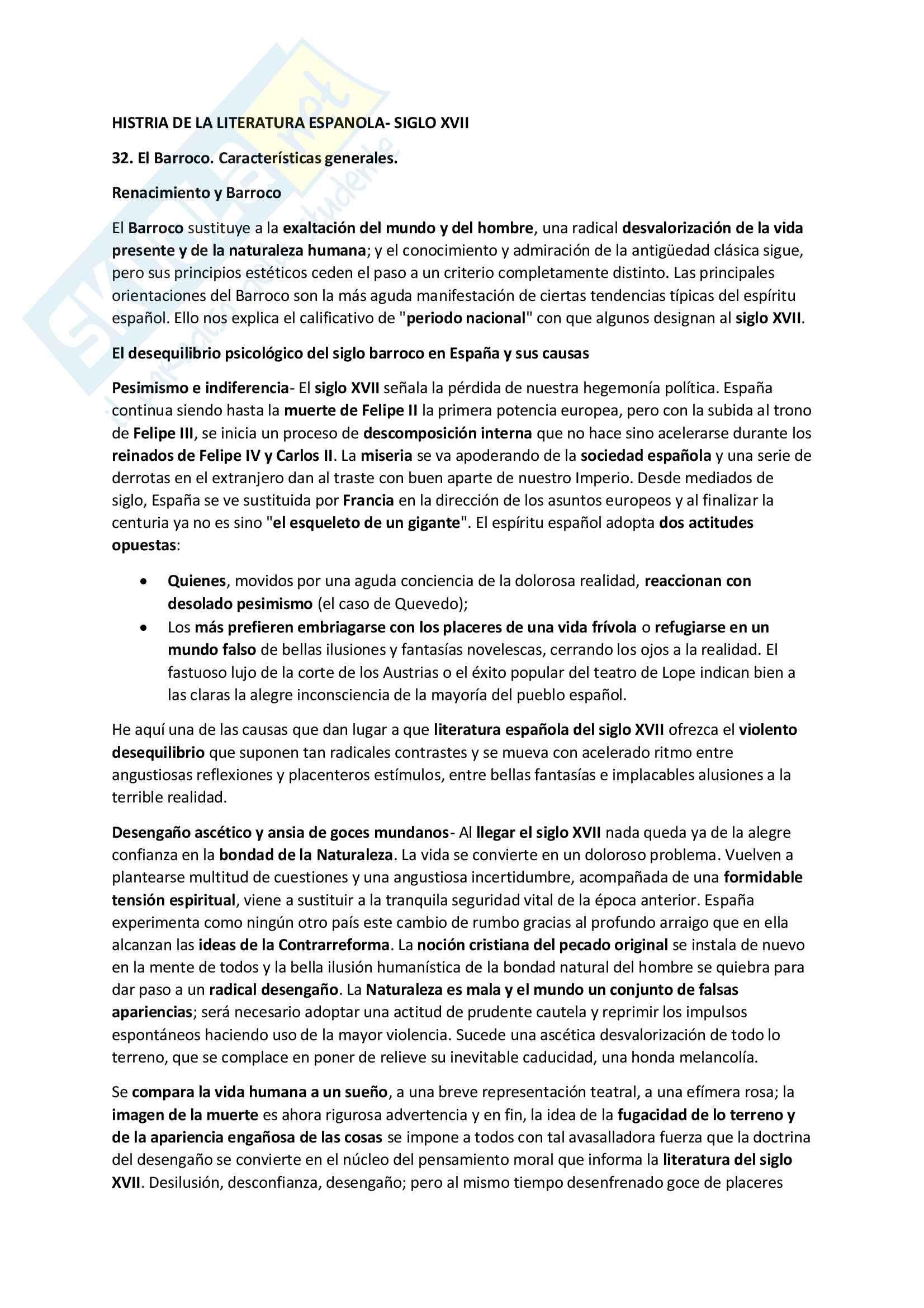 Riassunto esame Letteratura spagnola, prof. Resta, libro consigliato Historia de la Literatura Espanola, Vives (Siglo XVII)