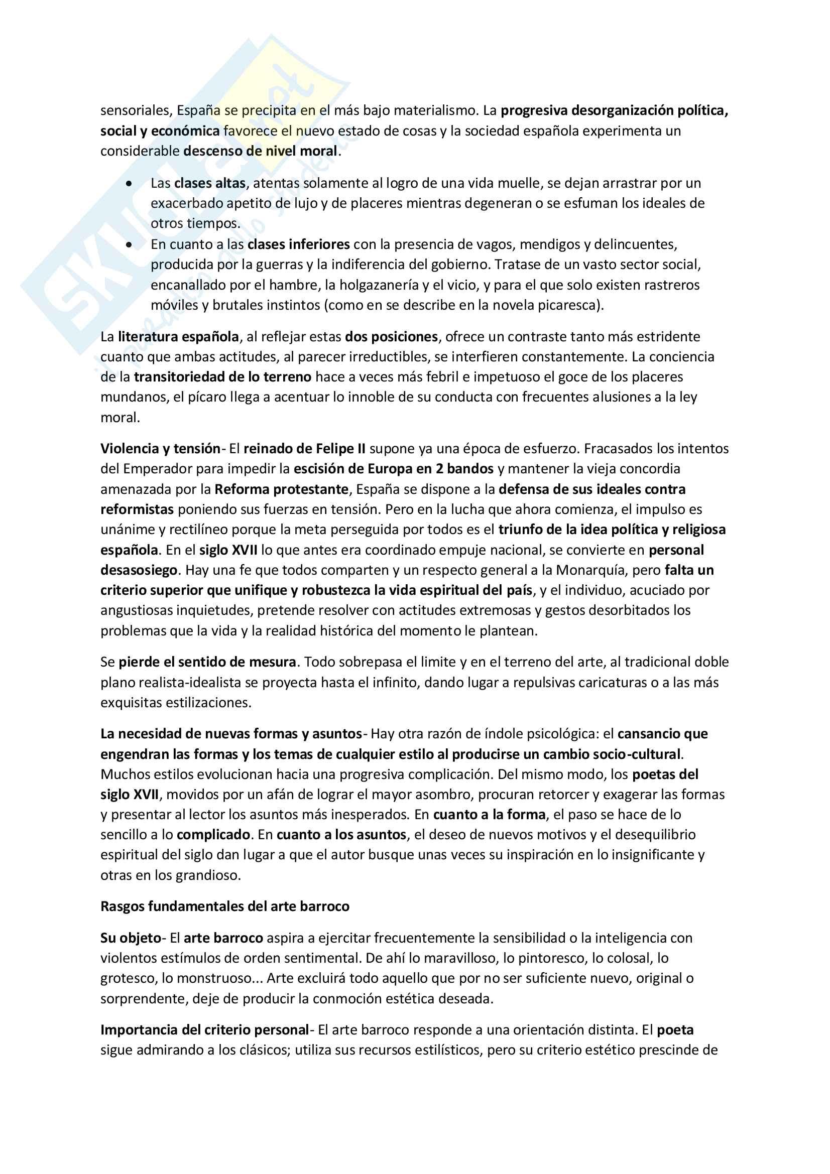Riassunto esame Letteratura spagnola, prof. Resta, libro consigliato Historia de la Literatura Espanola, Vives (Siglo XVII) Pag. 2
