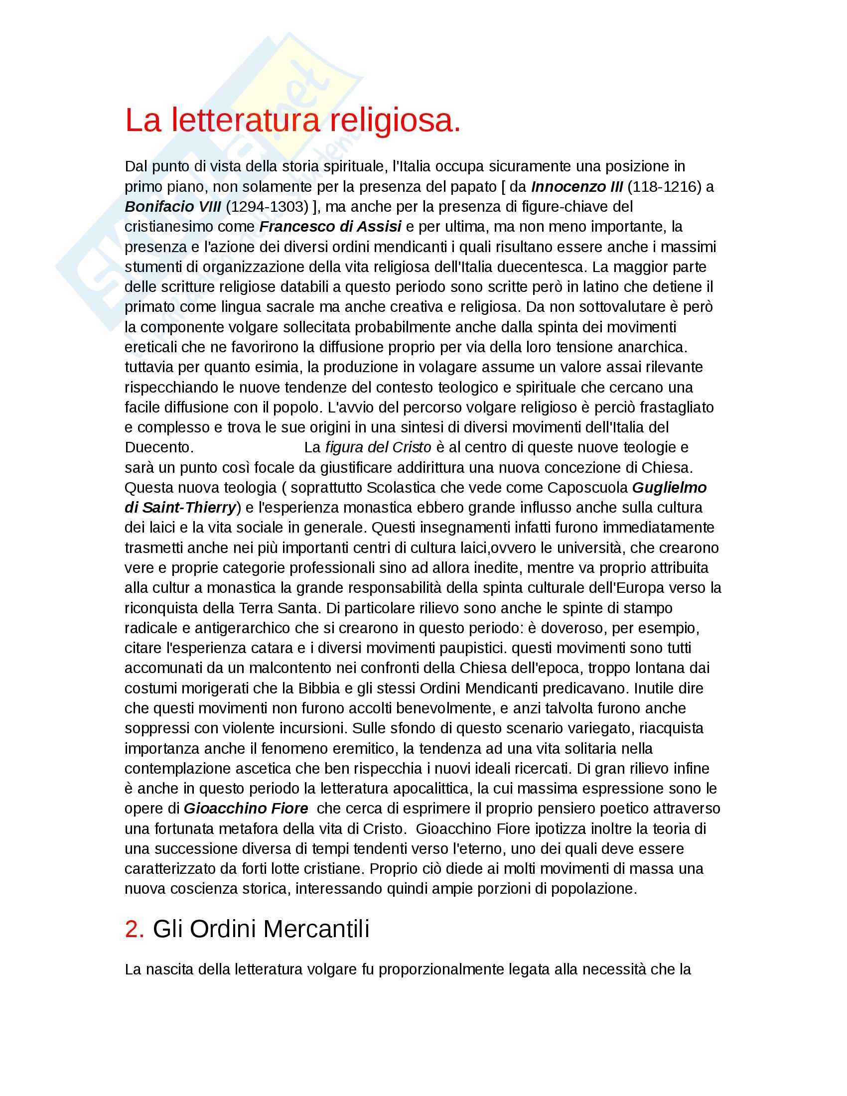 Letteratura religiosa, Letteratura italiana