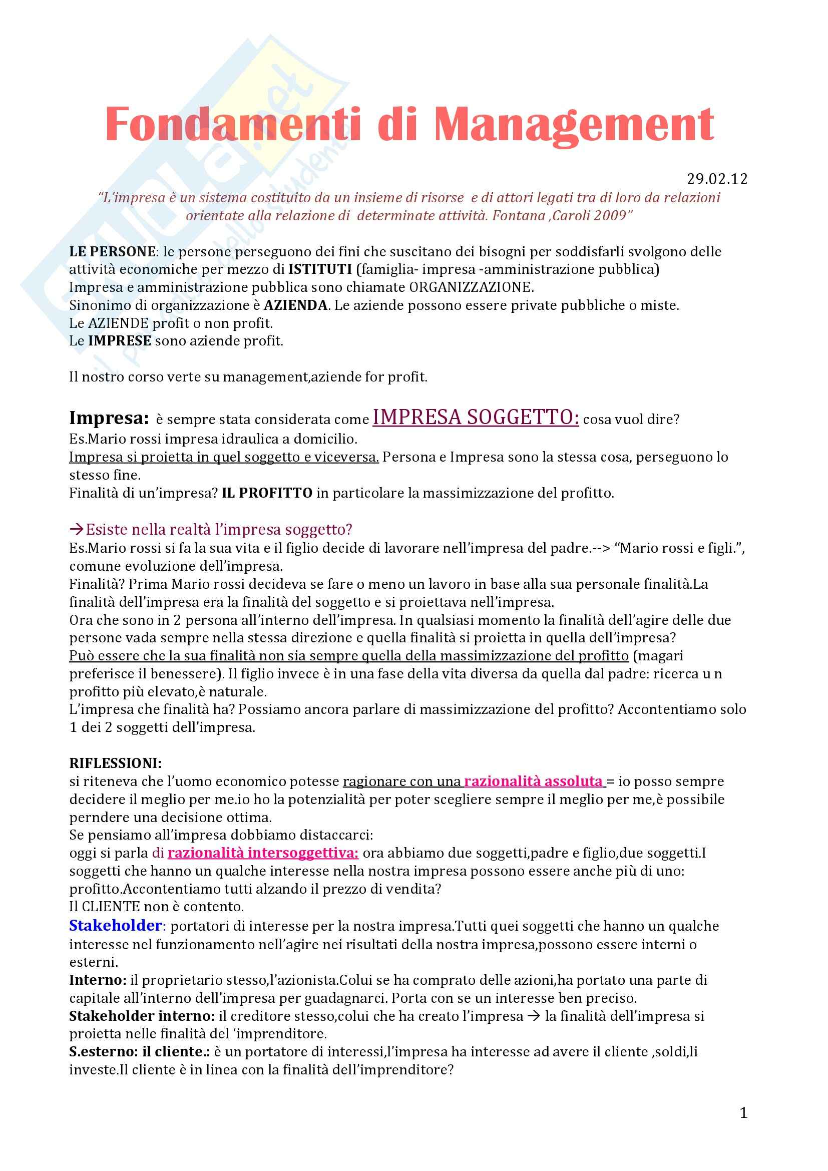 Fondamenti di Management - Appunti