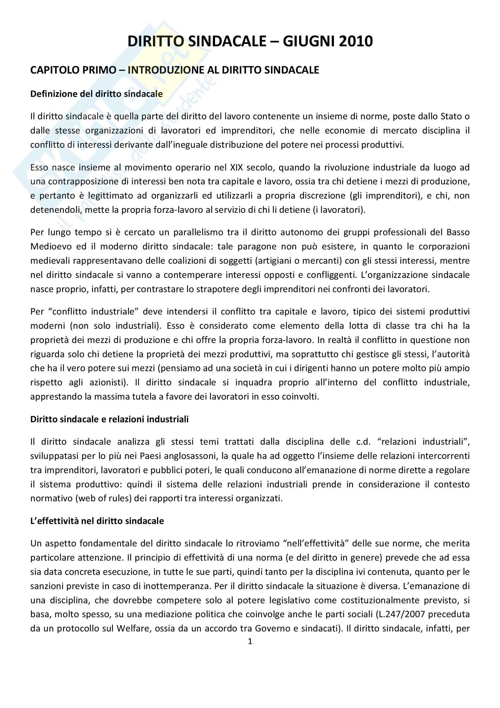 appunto D. Garofalo Diritto del lavoro