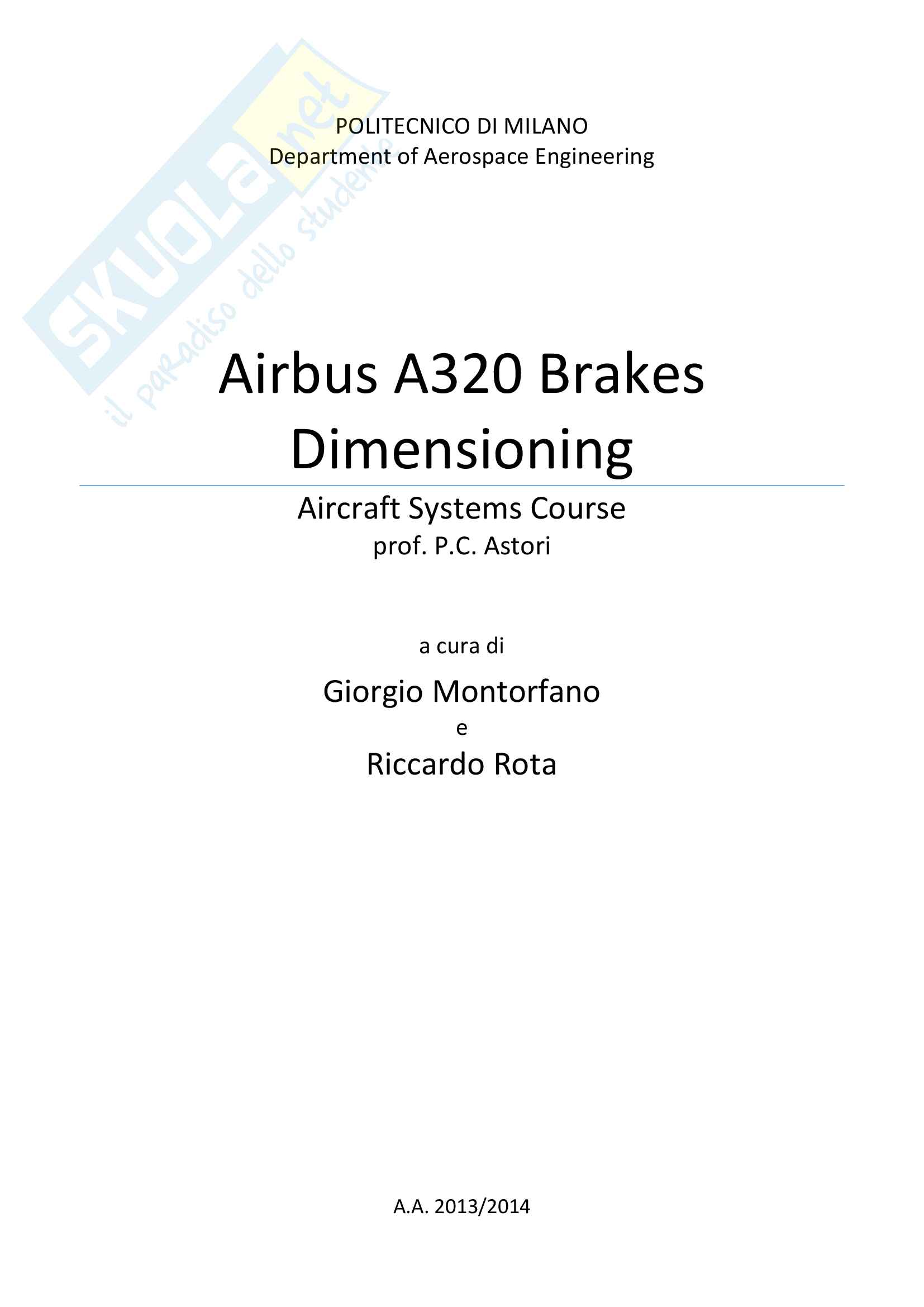 Airbus A320 Brakes Dimensioning