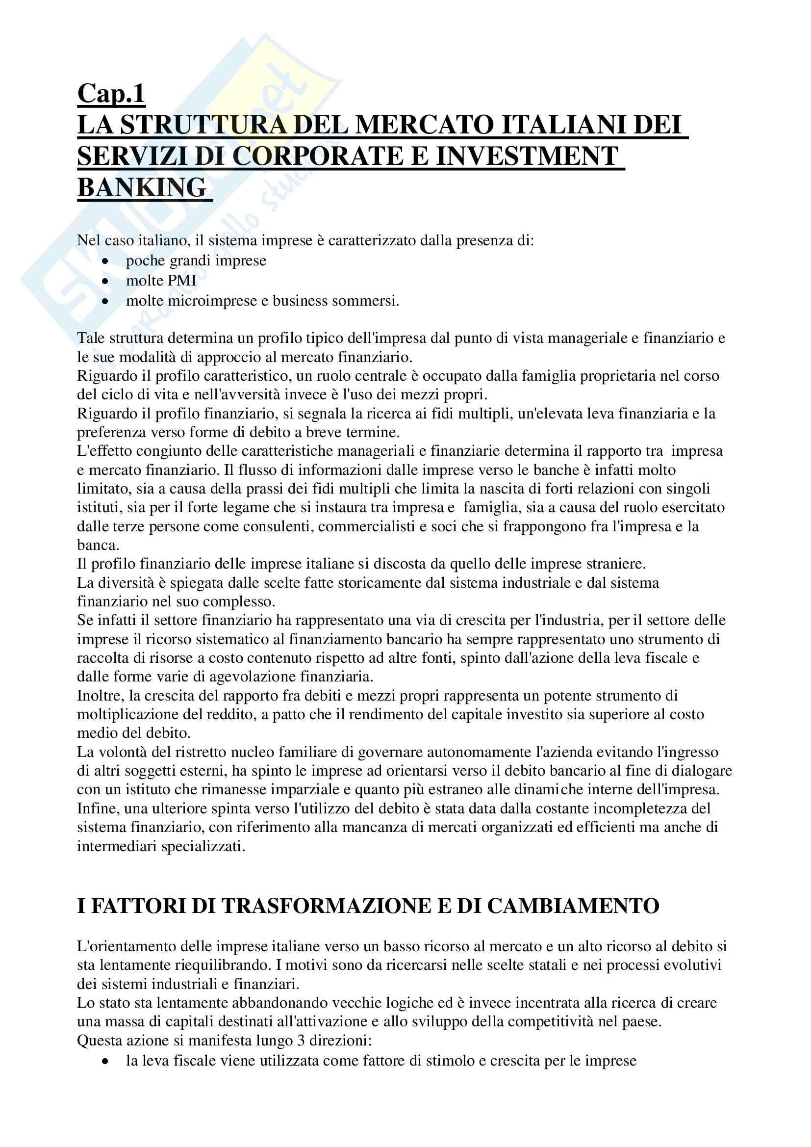 Riassunto esame Economia degli Intermediari Finanziari, prof. Moro, libro consigliato Corporate e Investment Banking di Forestieri