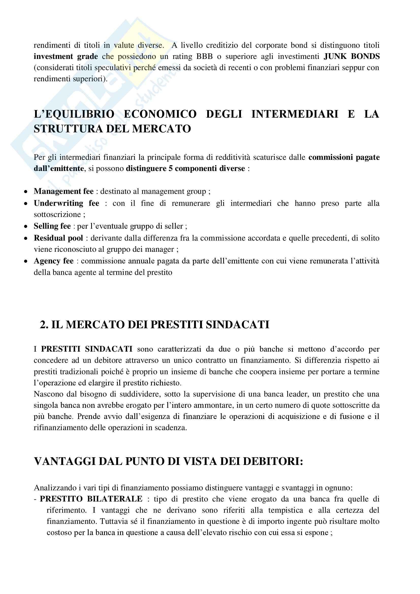 Riassunto esame Economia degli Intermediari Finanziari, prof. Moro, libro consigliato Corporate e Investment Banking di Forestieri Pag. 41