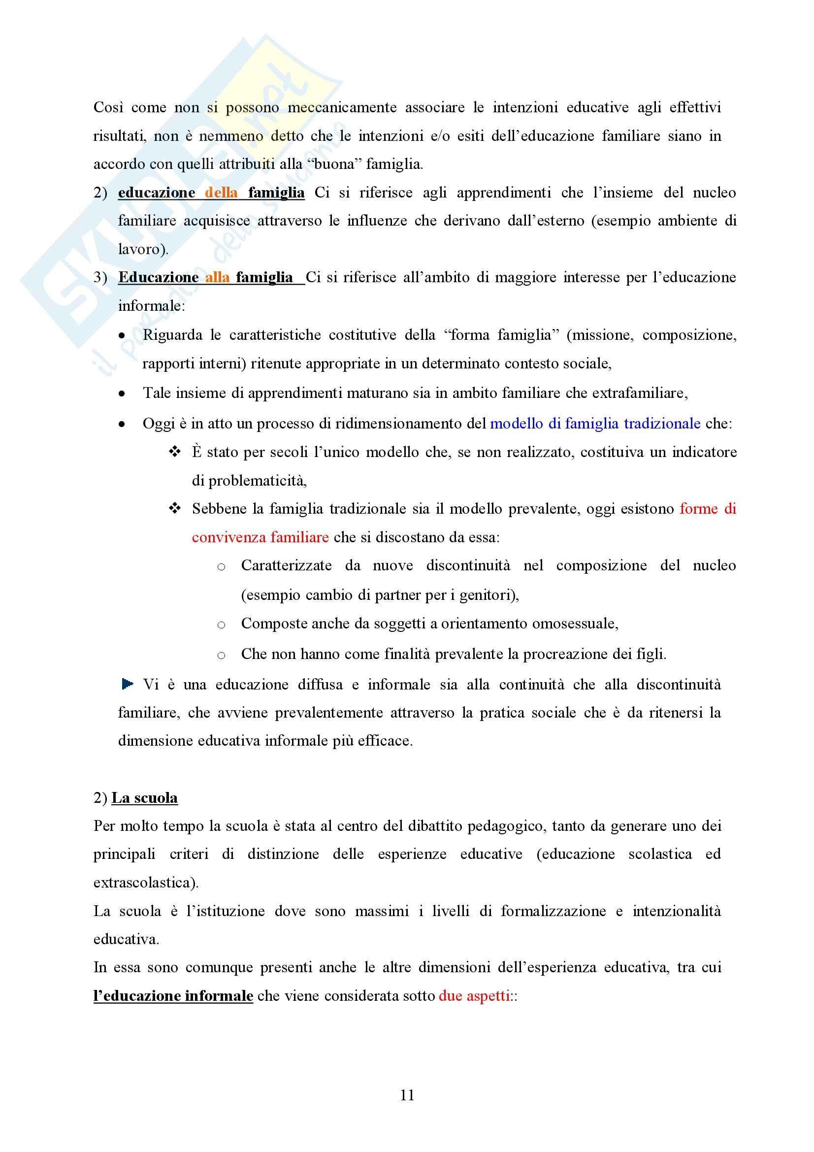 Pedagogia generale – Educazione informale Pag. 11