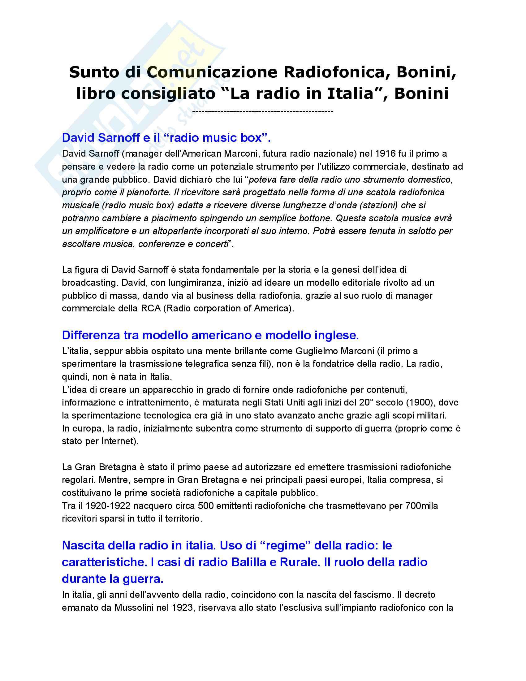 Riassunto esame Comunicazione Radiofonica, Bonini, libro consigliato La radio in Italia, Bonini