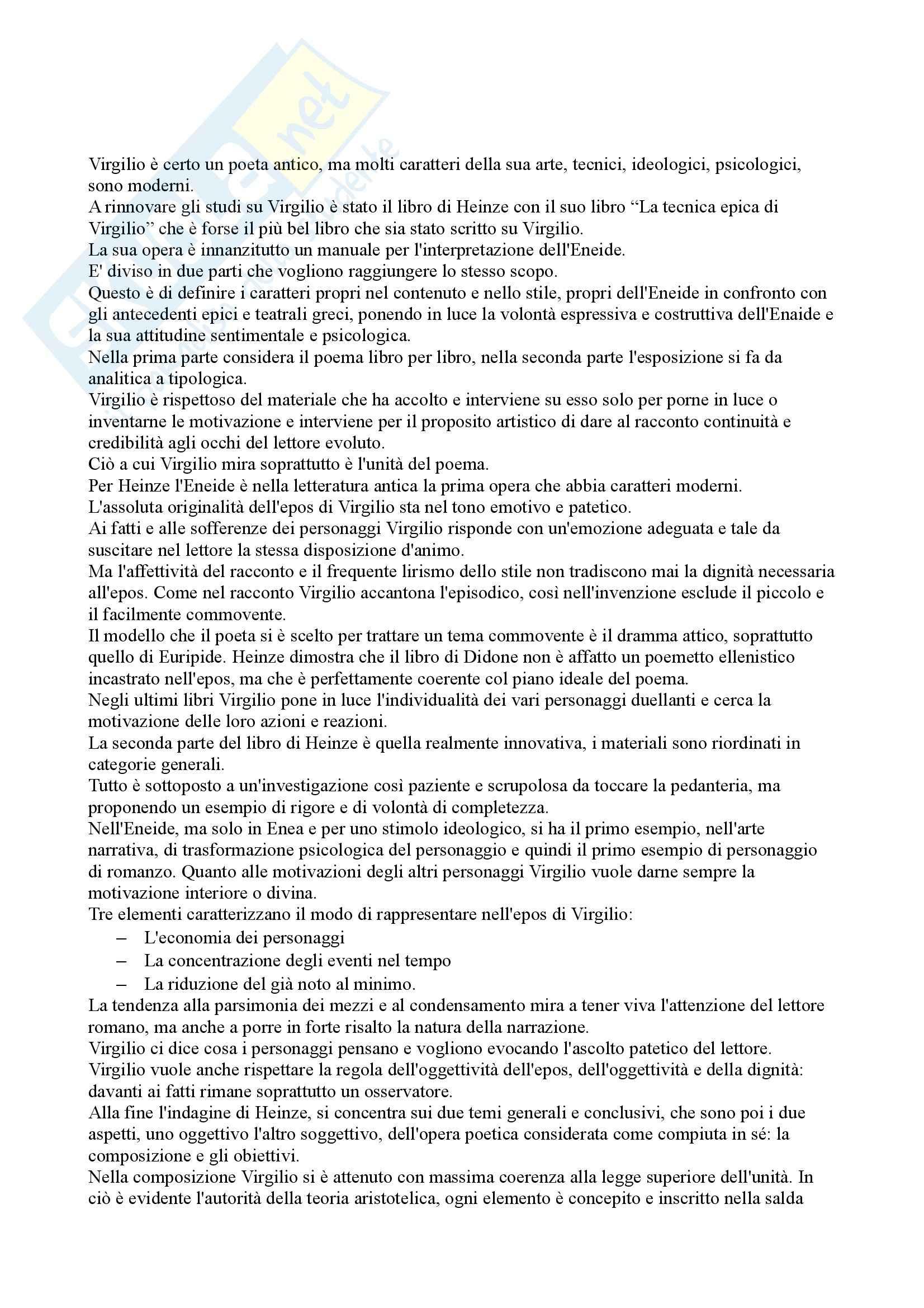 Riassunto esame Letteratura Latina, prof. De Nonno, libro consigliato Il Punto su Virgilio, Serpa