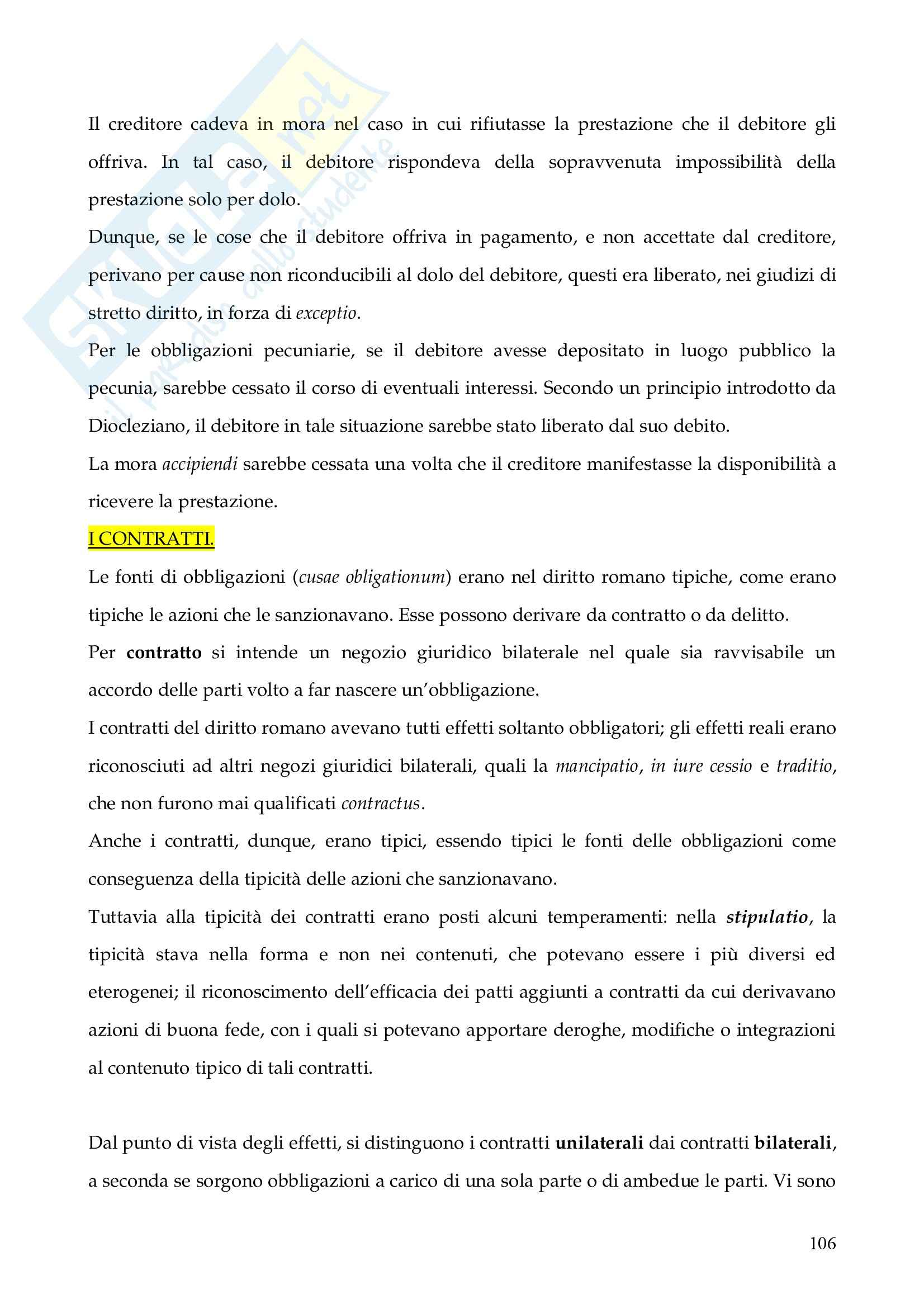Riassunto esame Istituzioni di Diritto Romano, prof. Finazzi, libro consigliato Istituzioni di Diritto Romano, Talamanca Pag. 106
