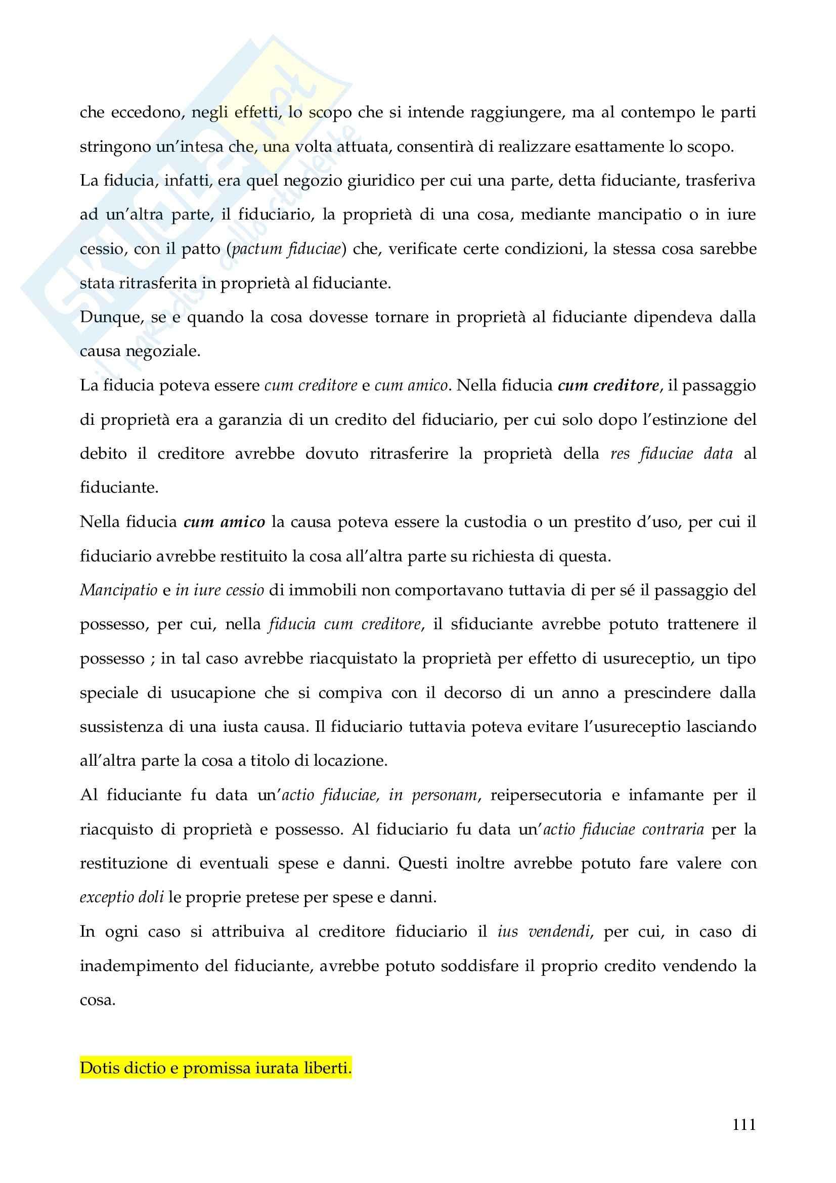 Riassunto esame Istituzioni di Diritto Romano, prof. Finazzi, libro consigliato Istituzioni di Diritto Romano, Talamanca Pag. 111