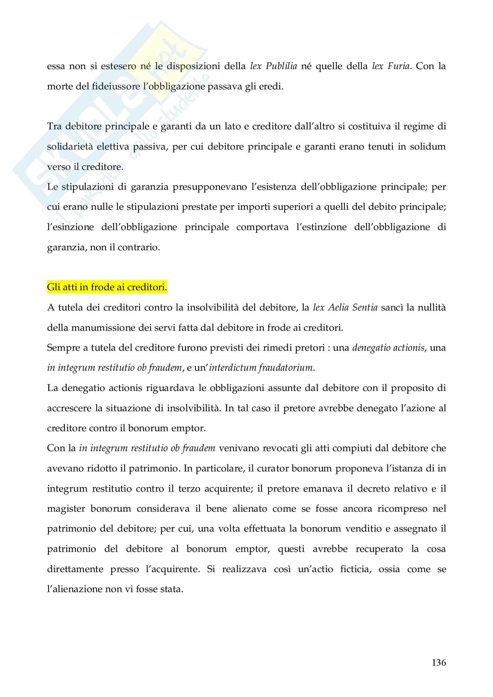 Riassunto esame Istituzioni di Diritto Romano, prof. Finazzi, libro consigliato Istituzioni di Diritto Romano, Talamanca Pag. 136