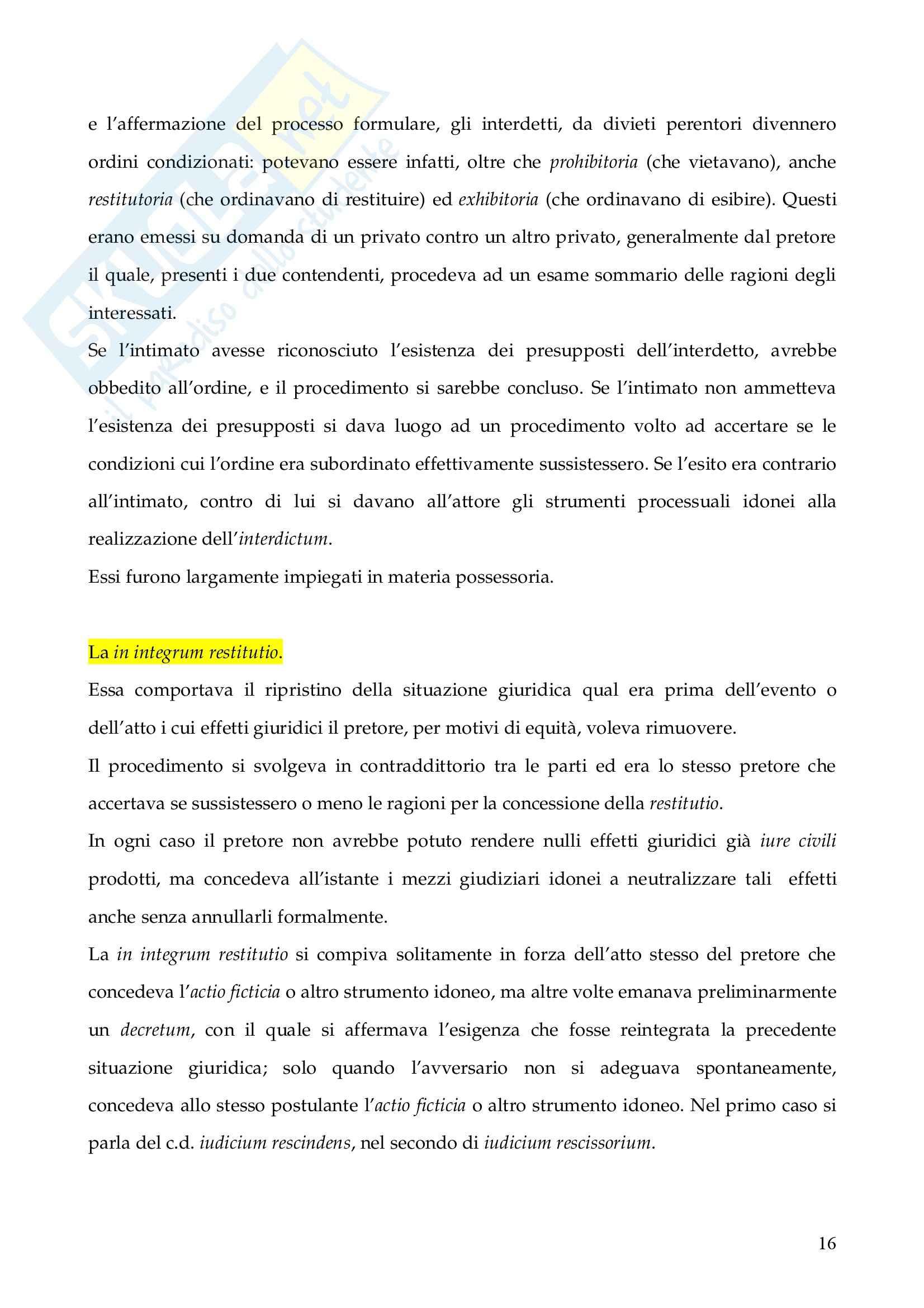Riassunto esame Istituzioni di Diritto Romano, prof. Finazzi, libro consigliato Istituzioni di Diritto Romano, Talamanca Pag. 16