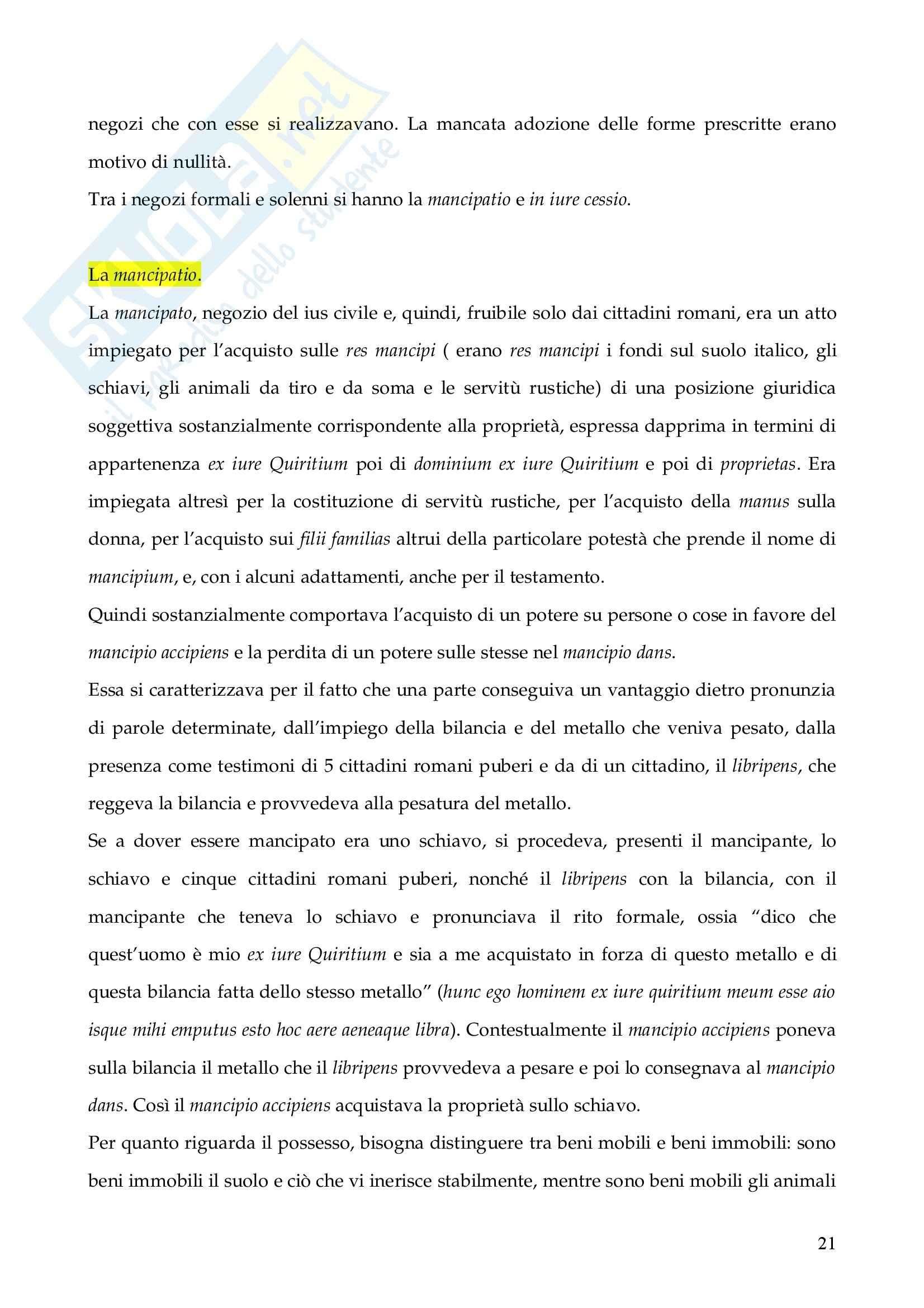 Riassunto esame Istituzioni di Diritto Romano, prof. Finazzi, libro consigliato Istituzioni di Diritto Romano, Talamanca Pag. 21