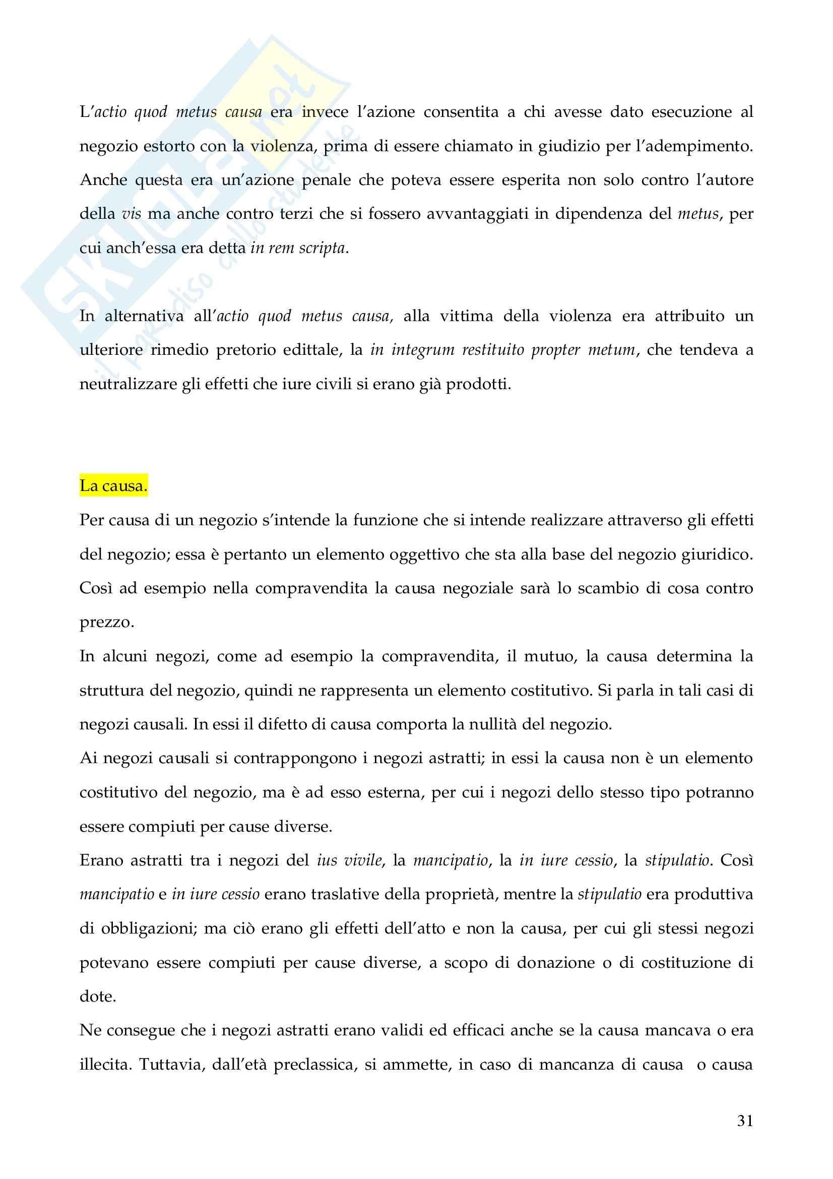 Riassunto esame Istituzioni di Diritto Romano, prof. Finazzi, libro consigliato Istituzioni di Diritto Romano, Talamanca Pag. 31