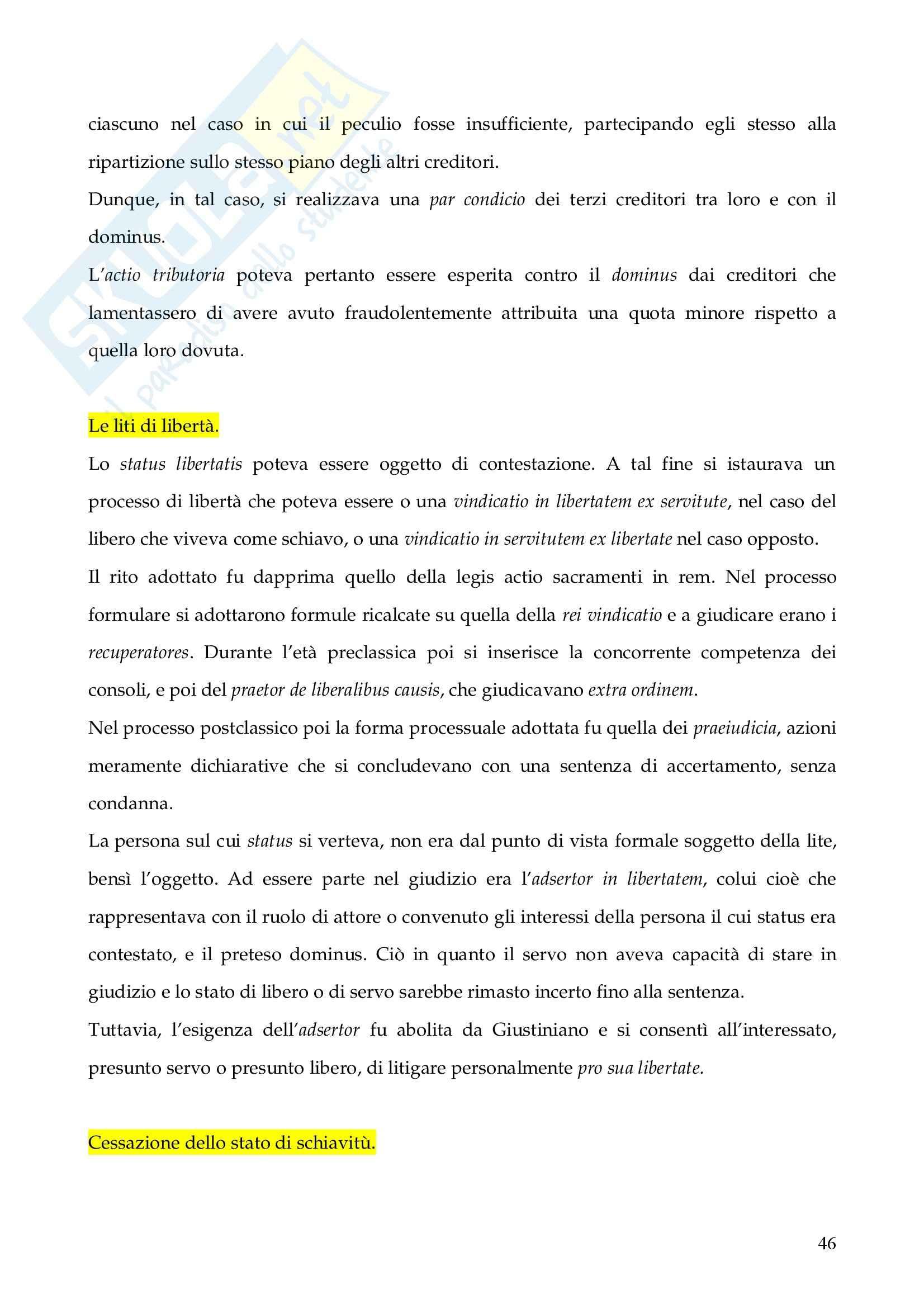 Riassunto esame Istituzioni di Diritto Romano, prof. Finazzi, libro consigliato Istituzioni di Diritto Romano, Talamanca Pag. 46