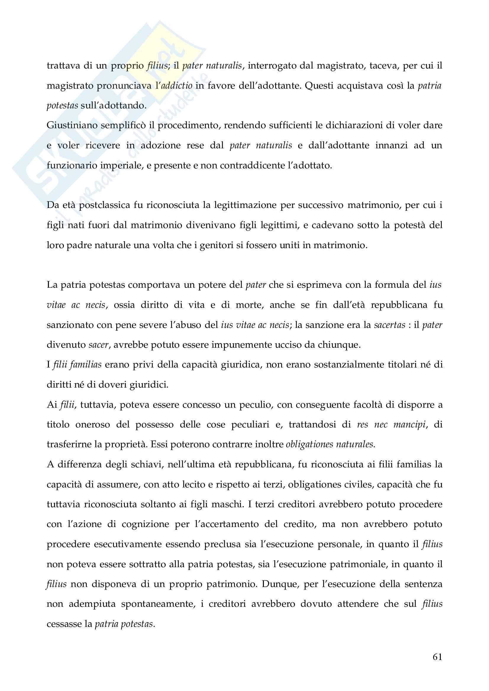 Riassunto esame Istituzioni di Diritto Romano, prof. Finazzi, libro consigliato Istituzioni di Diritto Romano, Talamanca Pag. 61