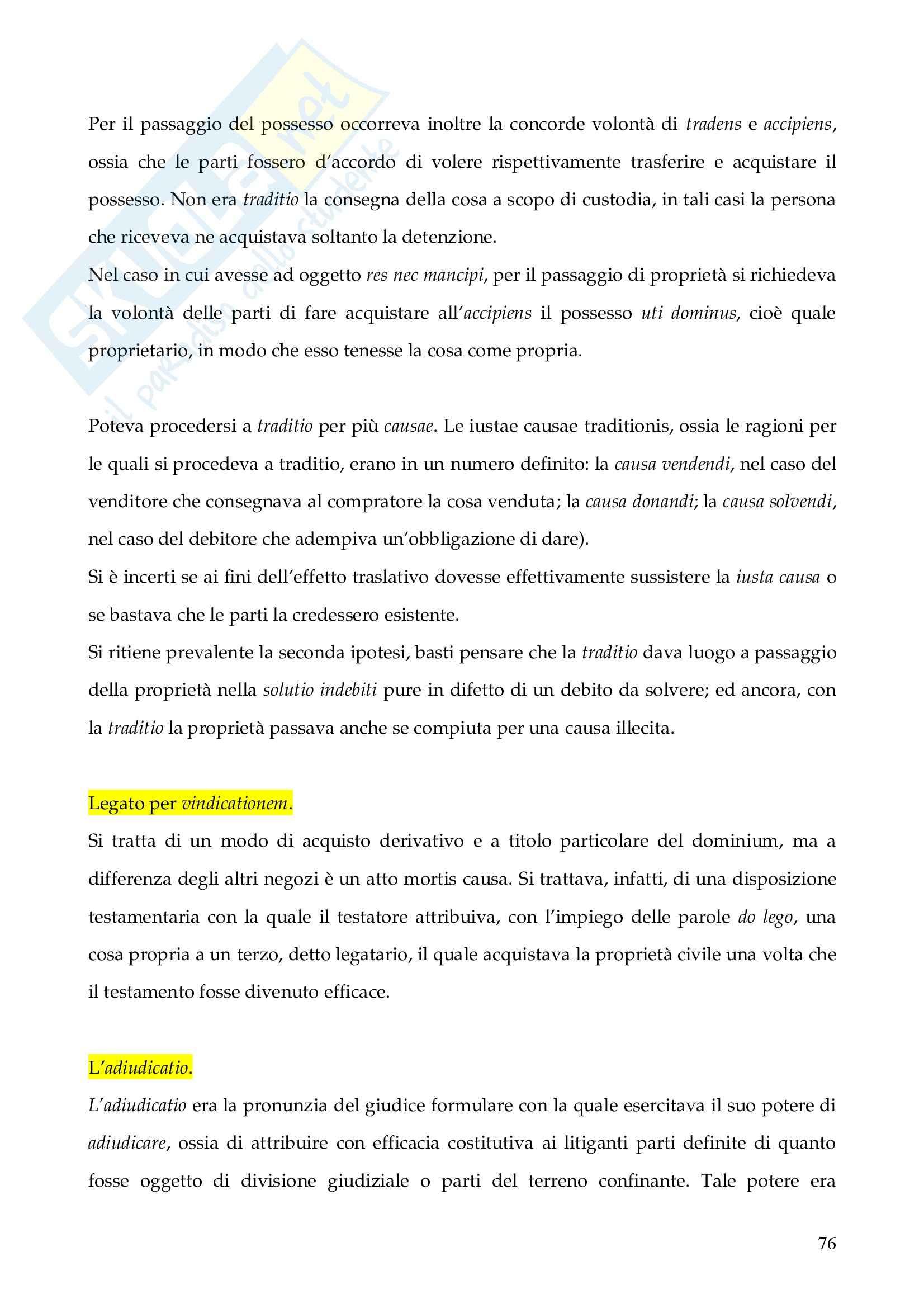 Riassunto esame Istituzioni di Diritto Romano, prof. Finazzi, libro consigliato Istituzioni di Diritto Romano, Talamanca Pag. 76