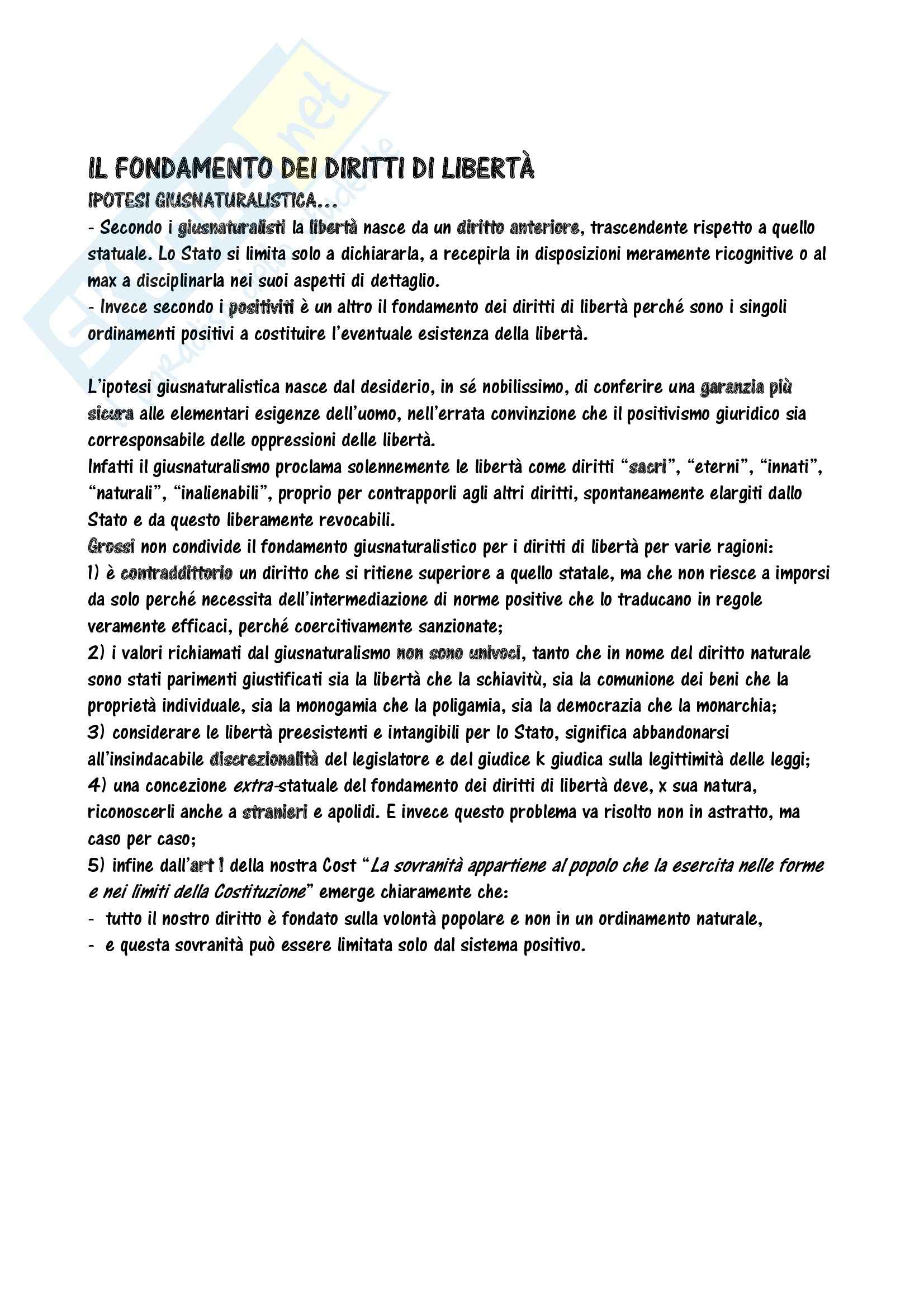 Riassunto esame Istituzioni di Diritto Pubblico, prof. Guzzetta, libro consigliato I Diritti di Libertà ad Uso di Lezioni di Grossi