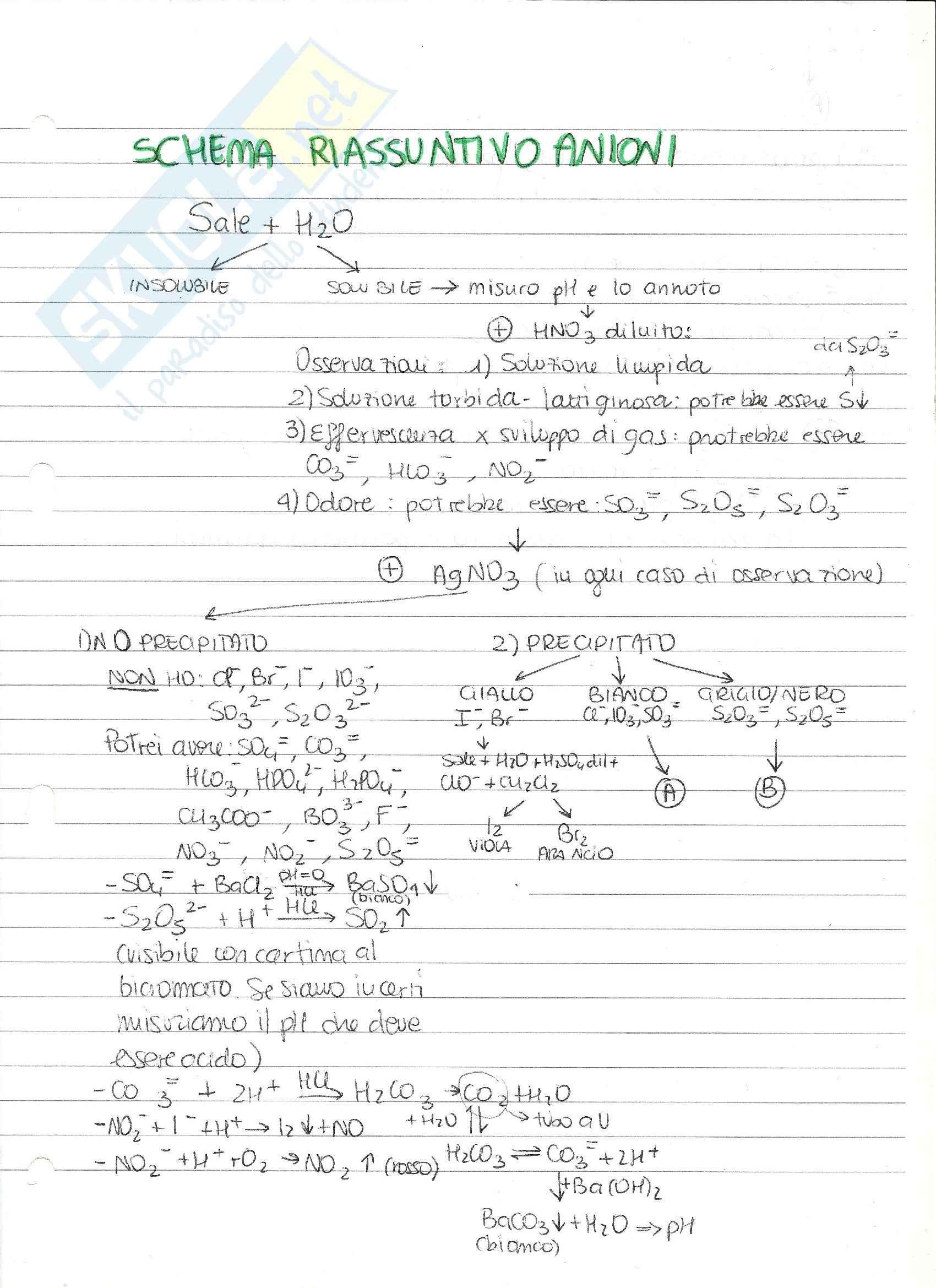 Schema riconoscimento anioni-cationi, Analisi