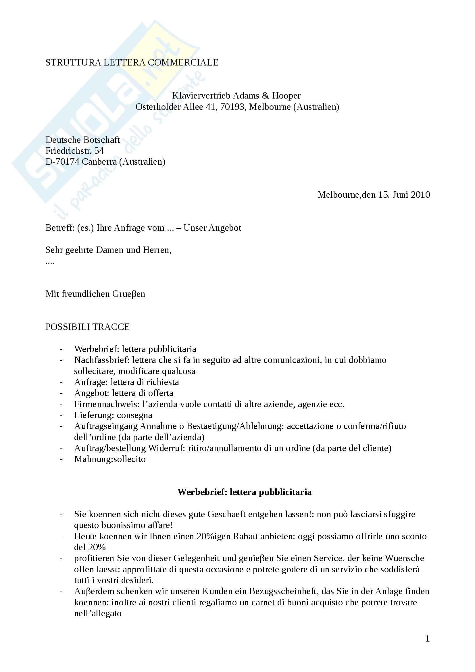 Lingua tedesca - Struttura di una lettera commerciale tedesca e tipologie