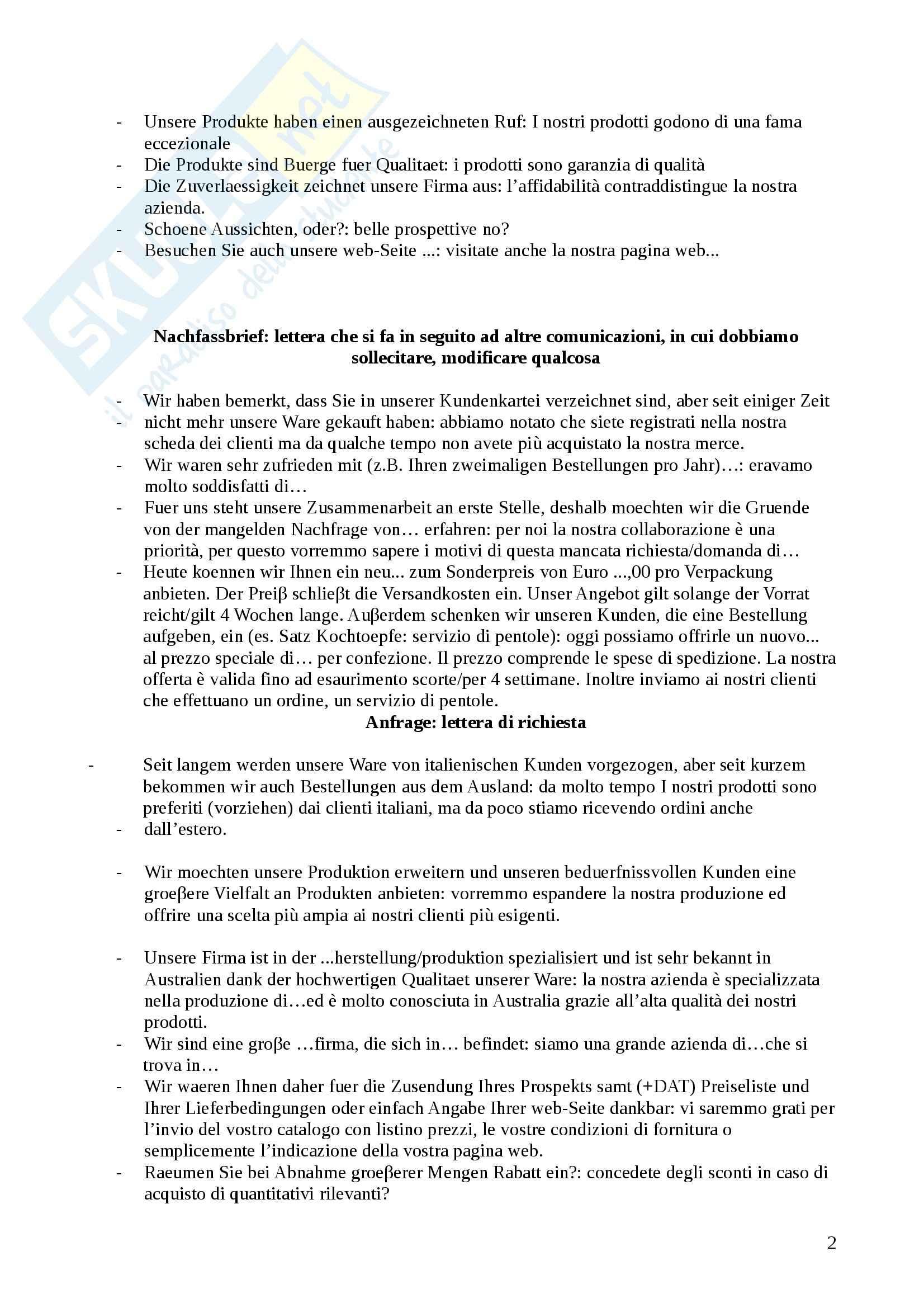 Lingua tedesca - Struttura di una lettera commerciale tedesca e tipologie Pag. 2