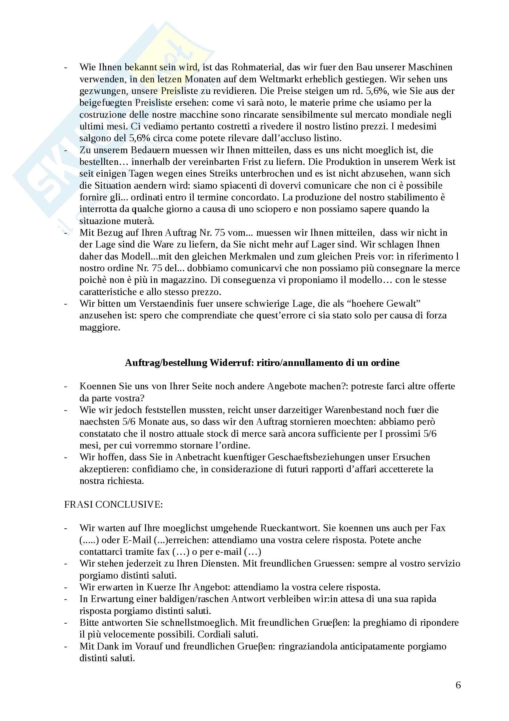 Lingua tedesca - Struttura di una lettera commerciale tedesca e tipologie Pag. 6