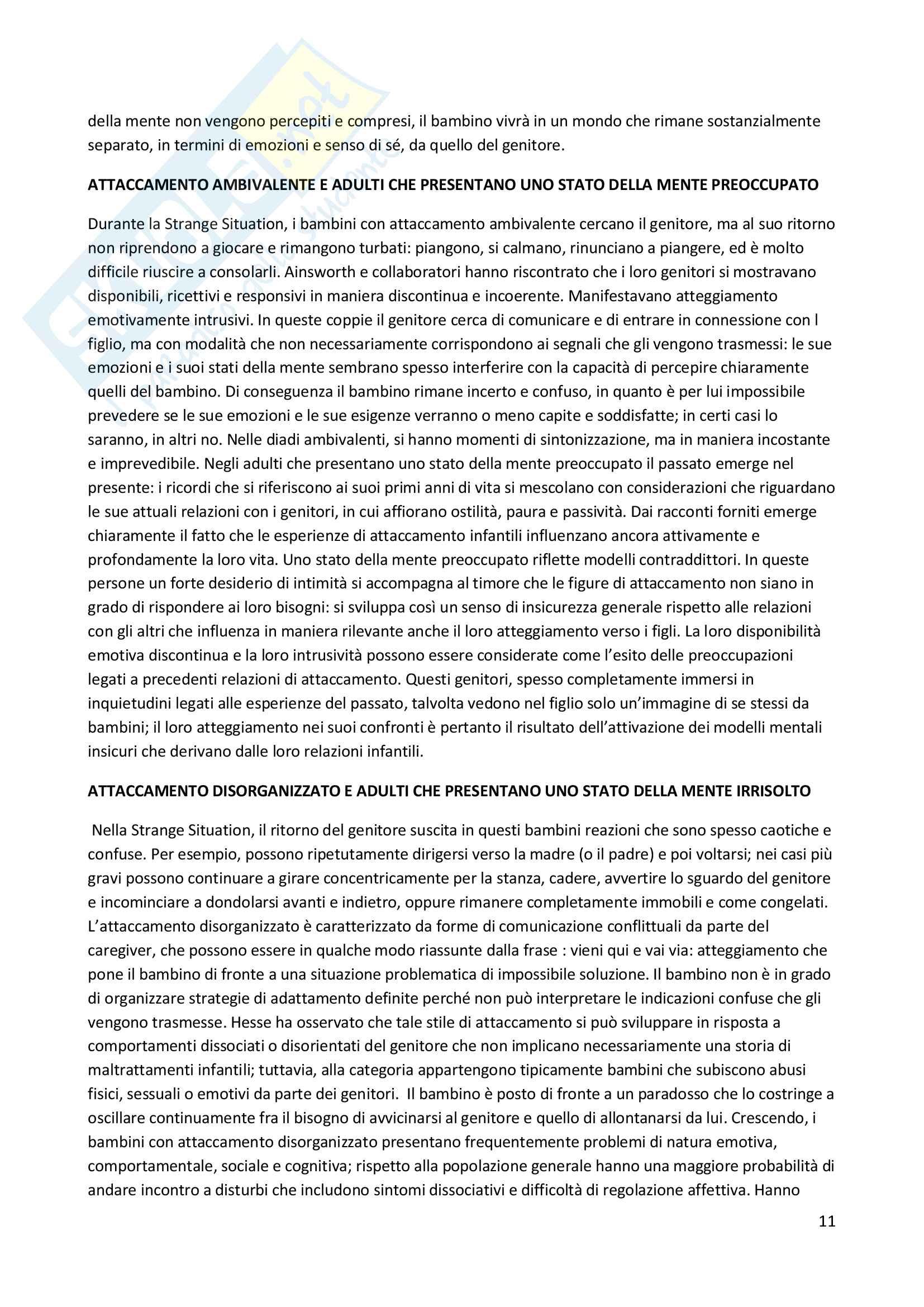 Riassunto esame Psicosomatica con elementi di psicologia della salute, prof. Epifanio, libro consigliato La mente relazionale. Neurobiologia dell'esperienza interperosnale, Siegel Pag. 11