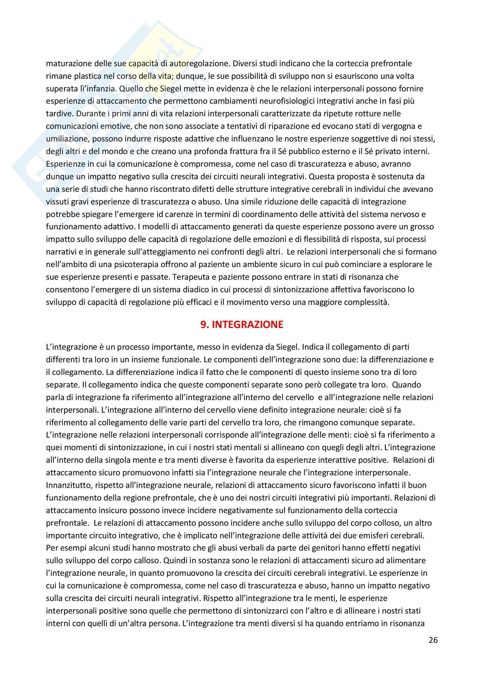 Riassunto esame Psicosomatica con elementi di psicologia della salute, prof. Epifanio, libro consigliato La mente relazionale. Neurobiologia dell'esperienza interperosnale, Siegel Pag. 26
