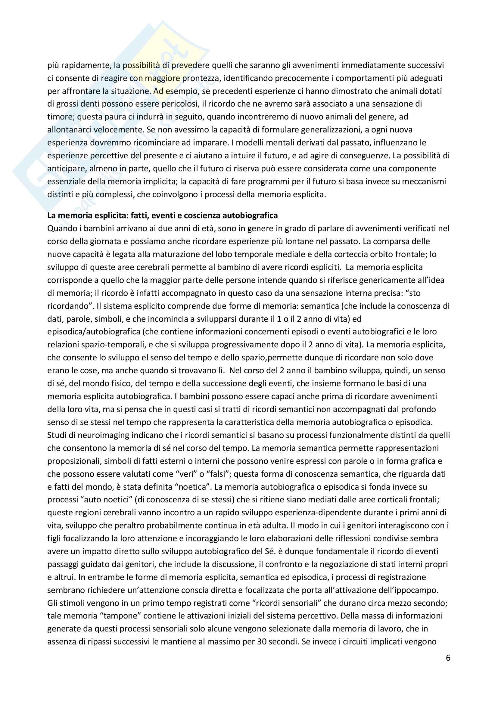 Riassunto esame Psicosomatica con elementi di psicologia della salute, prof. Epifanio, libro consigliato La mente relazionale. Neurobiologia dell'esperienza interperosnale, Siegel Pag. 6