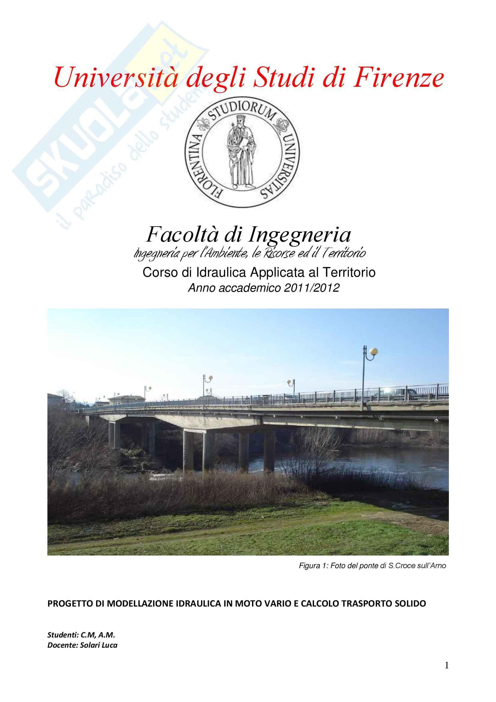 Idraulica Applicata al Territorio - relazione