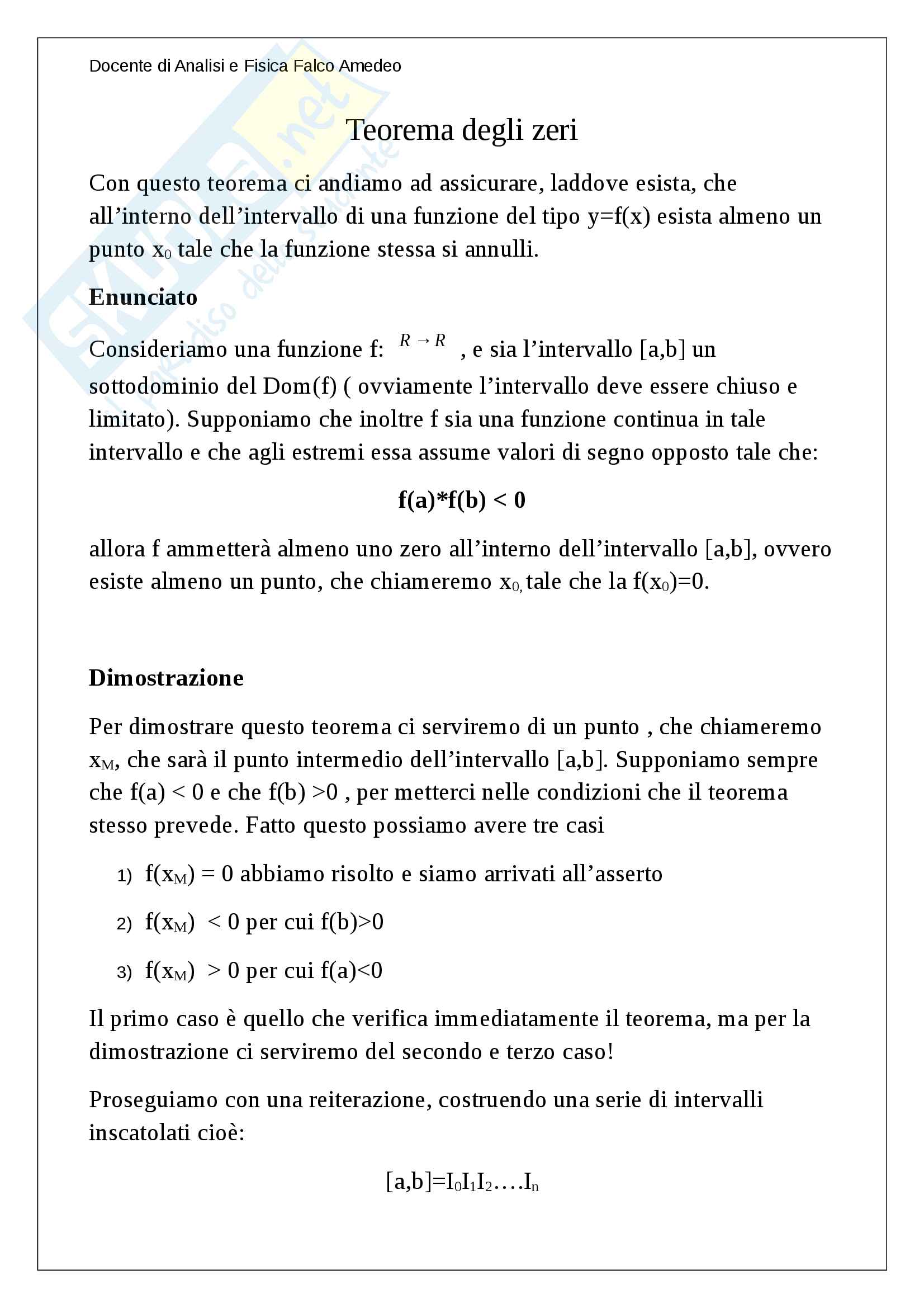 Teorema degli zeri