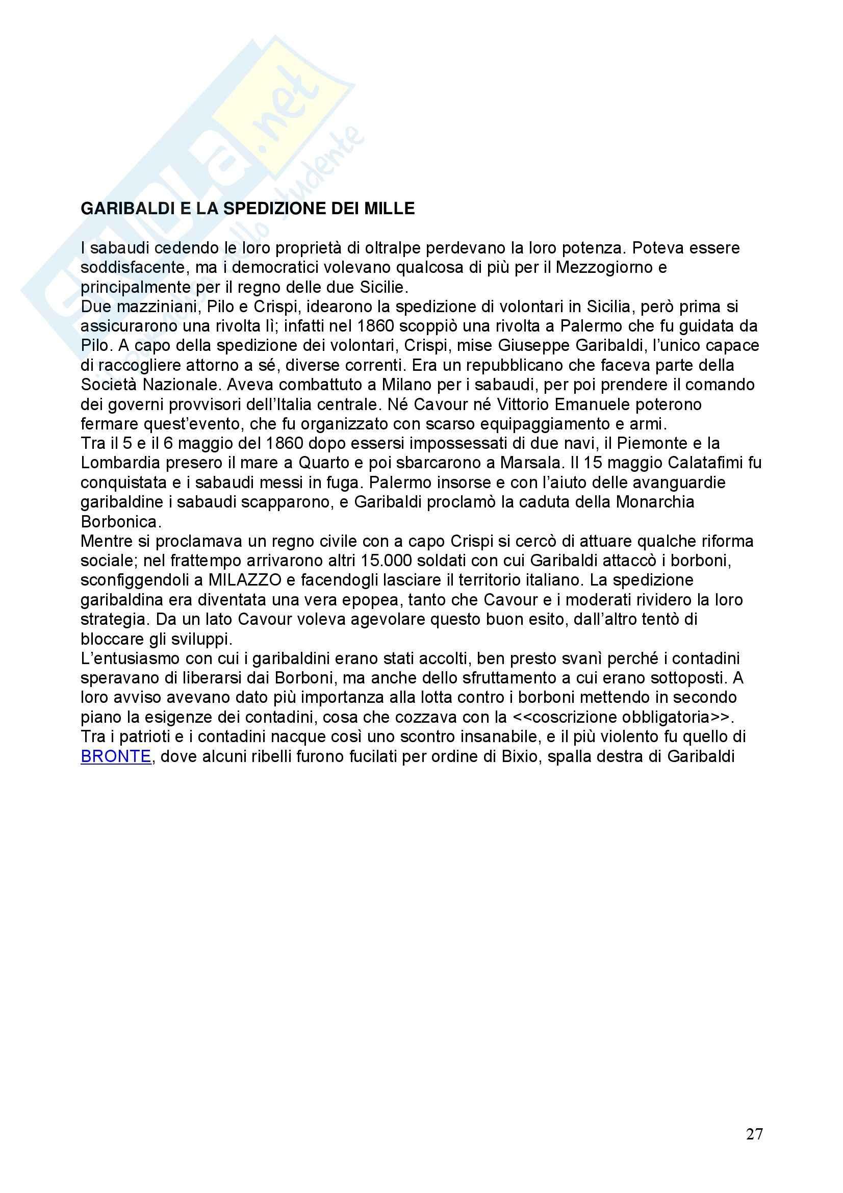 Storia - Garibaldi e la spedizione dei mille - Riassunto esame, prof. De Leonardis