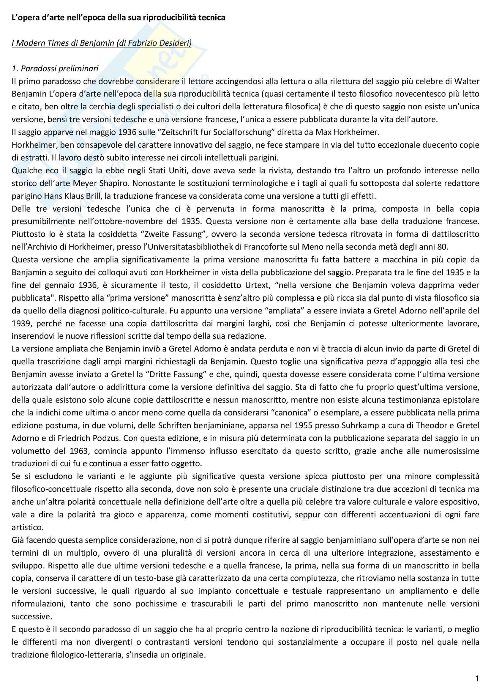 Riassunto esame Estetica, prof. Desideri, libro consigliato L'opera d'arte nell'epoca della sua riproducibilità tecnica, Benjamin