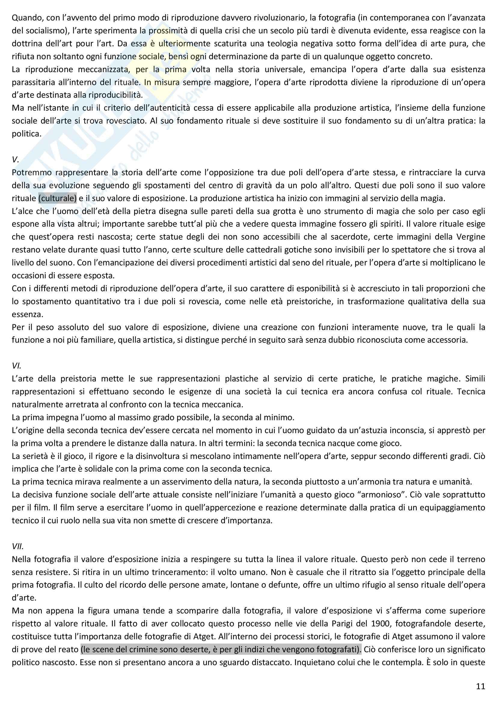 Riassunto esame Estetica, prof. Desideri, libro consigliato L'opera d'arte nell'epoca della sua riproducibilità tecnica, Benjamin Pag. 11