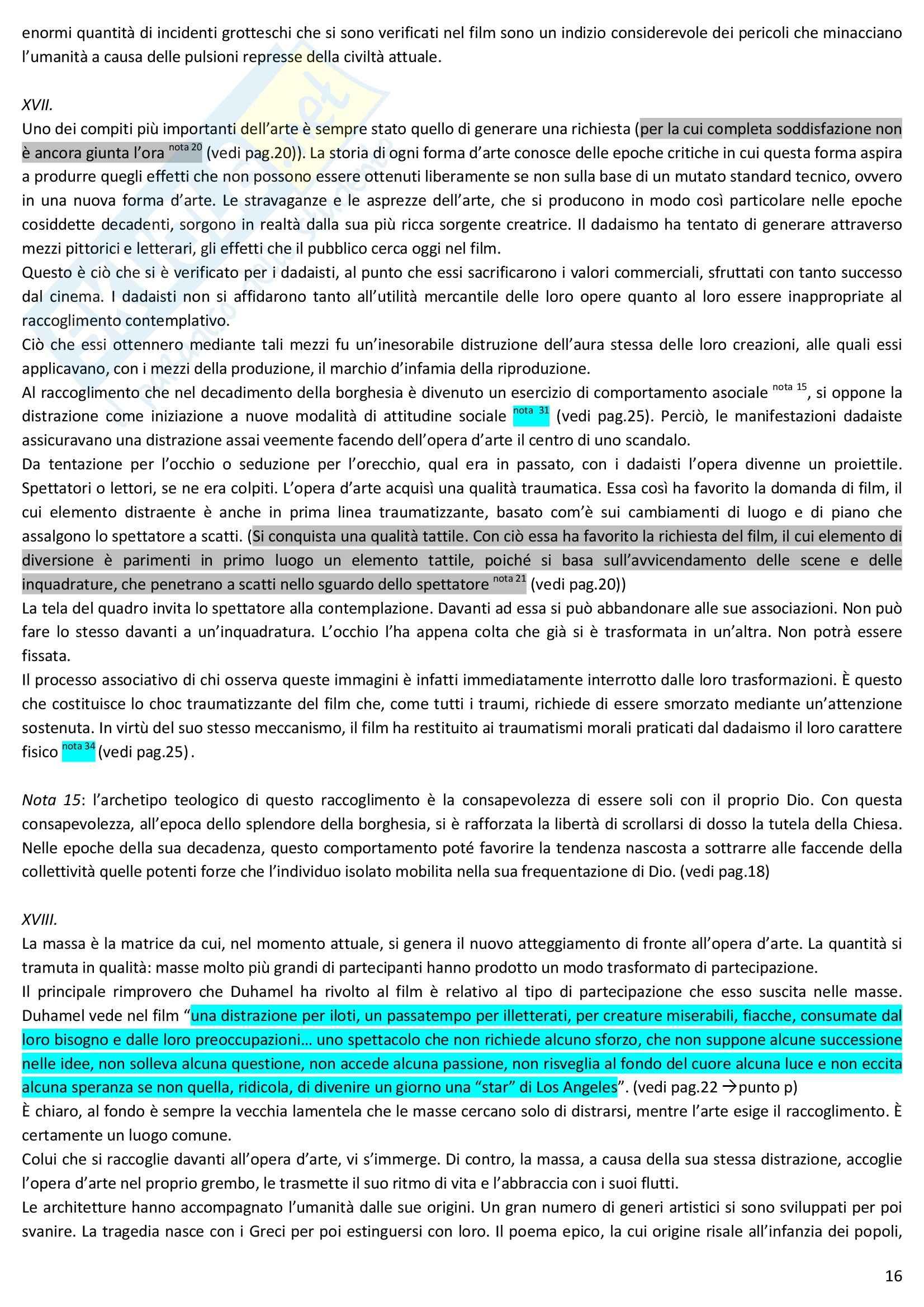 Riassunto esame Estetica, prof. Desideri, libro consigliato L'opera d'arte nell'epoca della sua riproducibilità tecnica, Benjamin Pag. 16