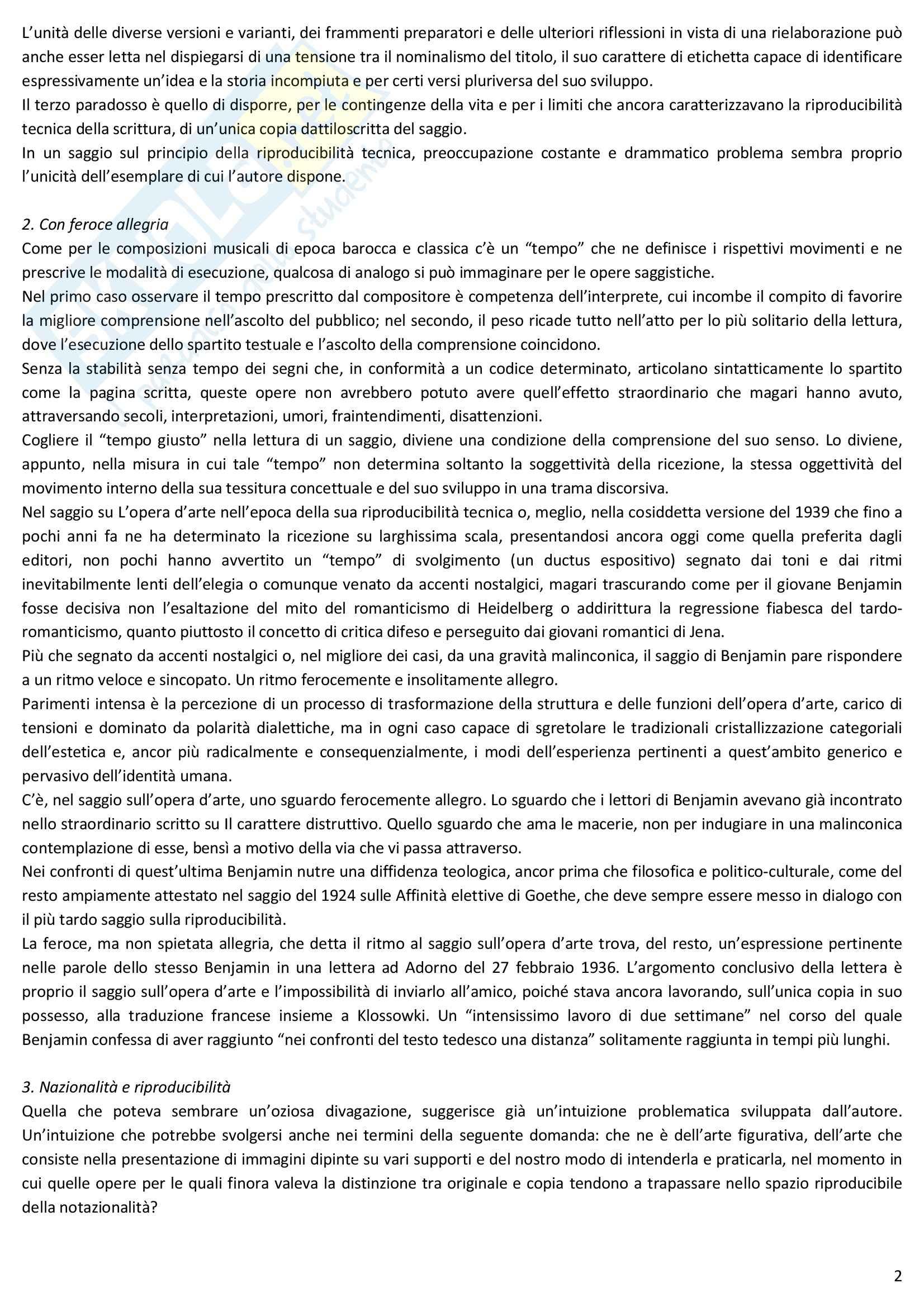 Riassunto esame Estetica, prof. Desideri, libro consigliato L'opera d'arte nell'epoca della sua riproducibilità tecnica, Benjamin Pag. 2