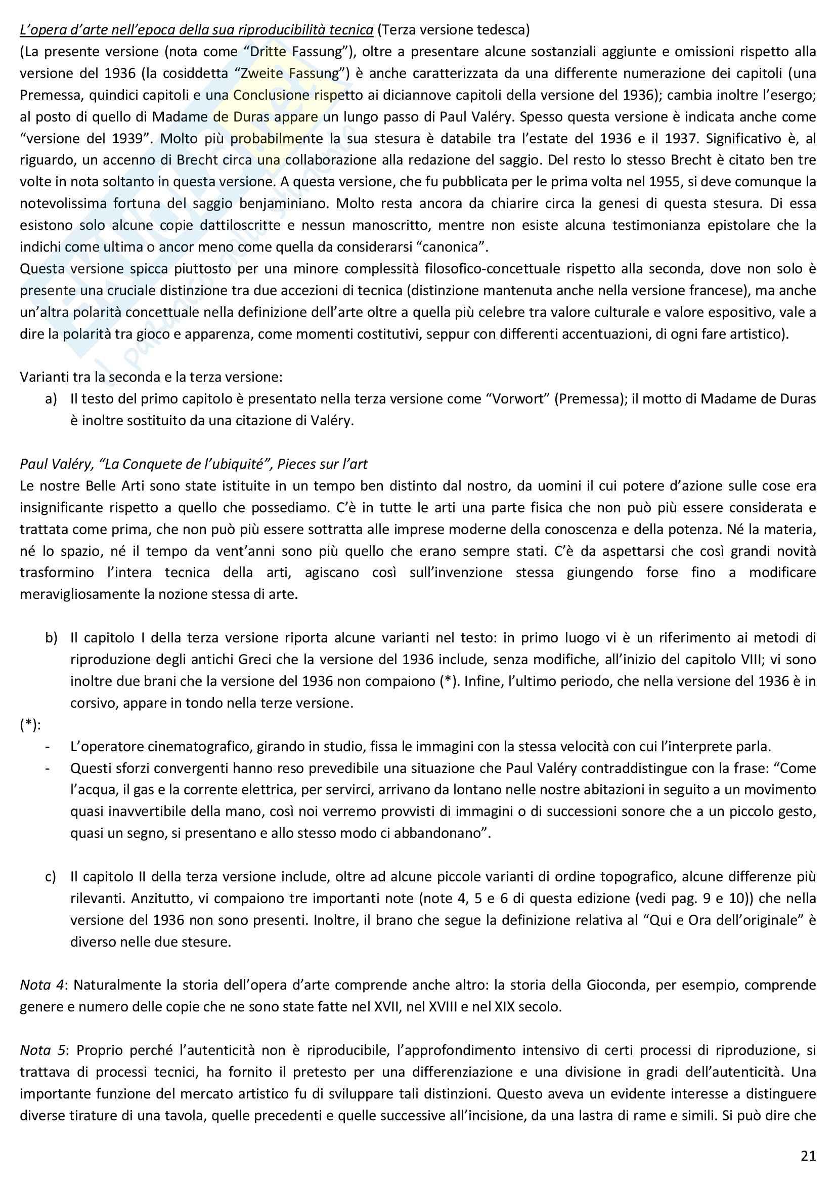 Riassunto esame Estetica, prof. Desideri, libro consigliato L'opera d'arte nell'epoca della sua riproducibilità tecnica, Benjamin Pag. 21