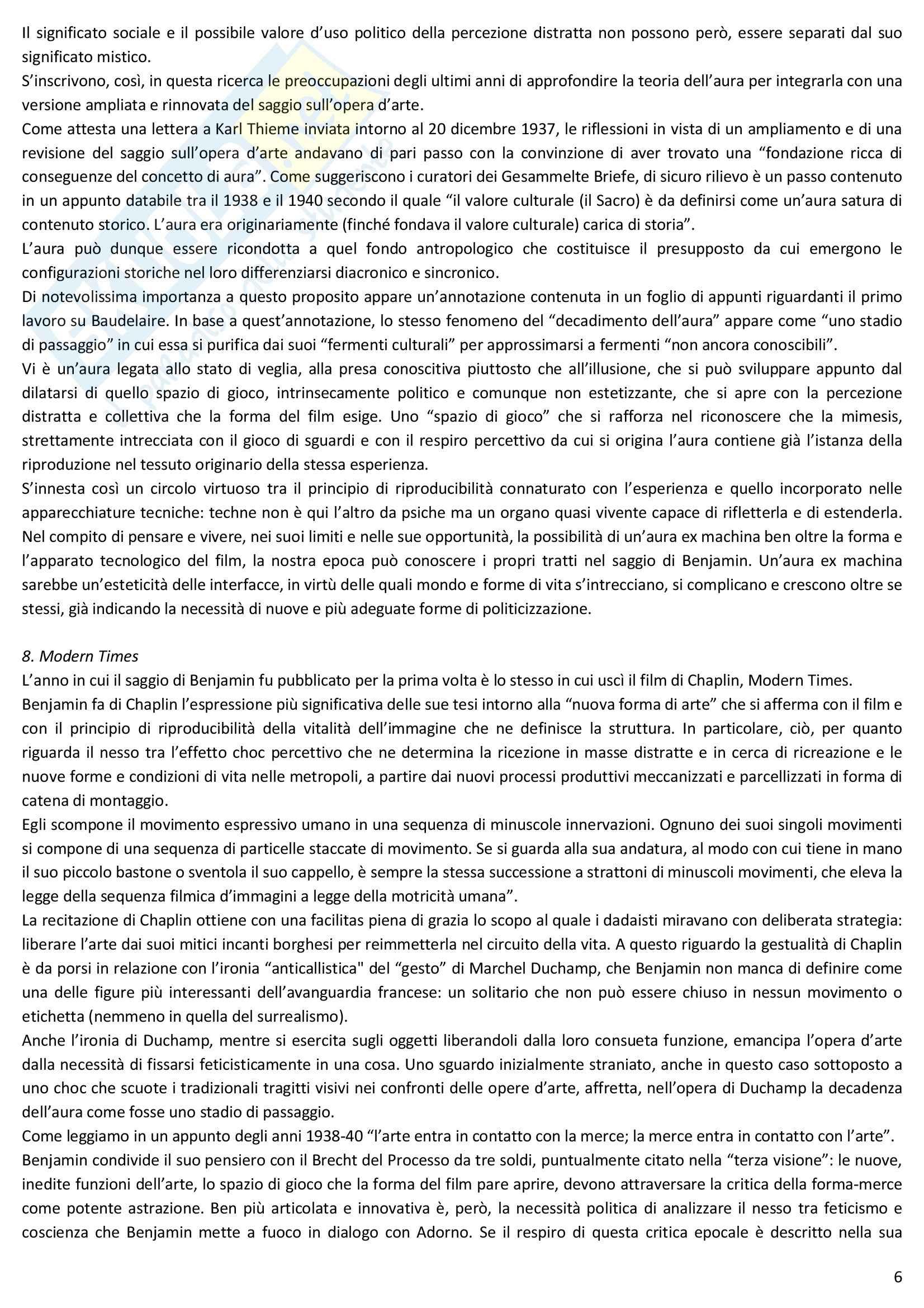 Riassunto esame Estetica, prof. Desideri, libro consigliato L'opera d'arte nell'epoca della sua riproducibilità tecnica, Benjamin Pag. 6