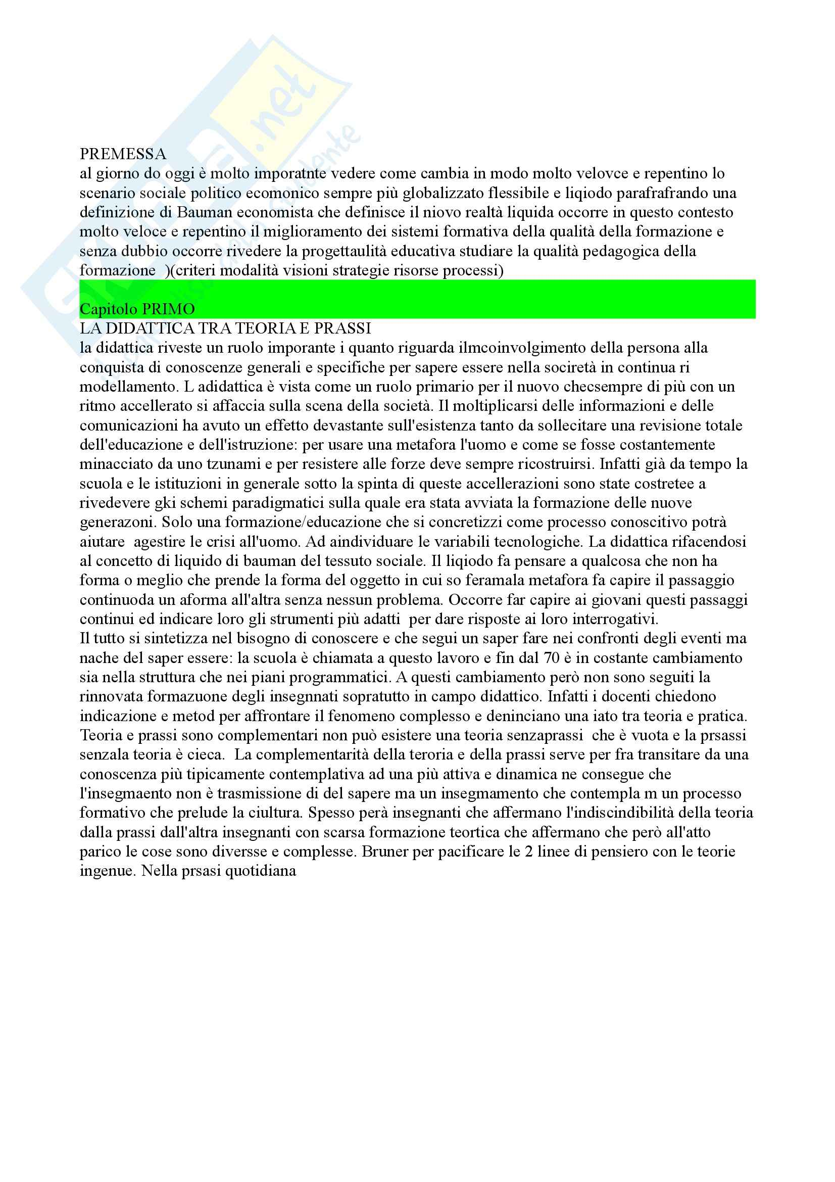 Riassunto esame Strategie educativo-didattiche, prof. De Angelis, libro consigliato Progettualità educativa e qualità pedagogica