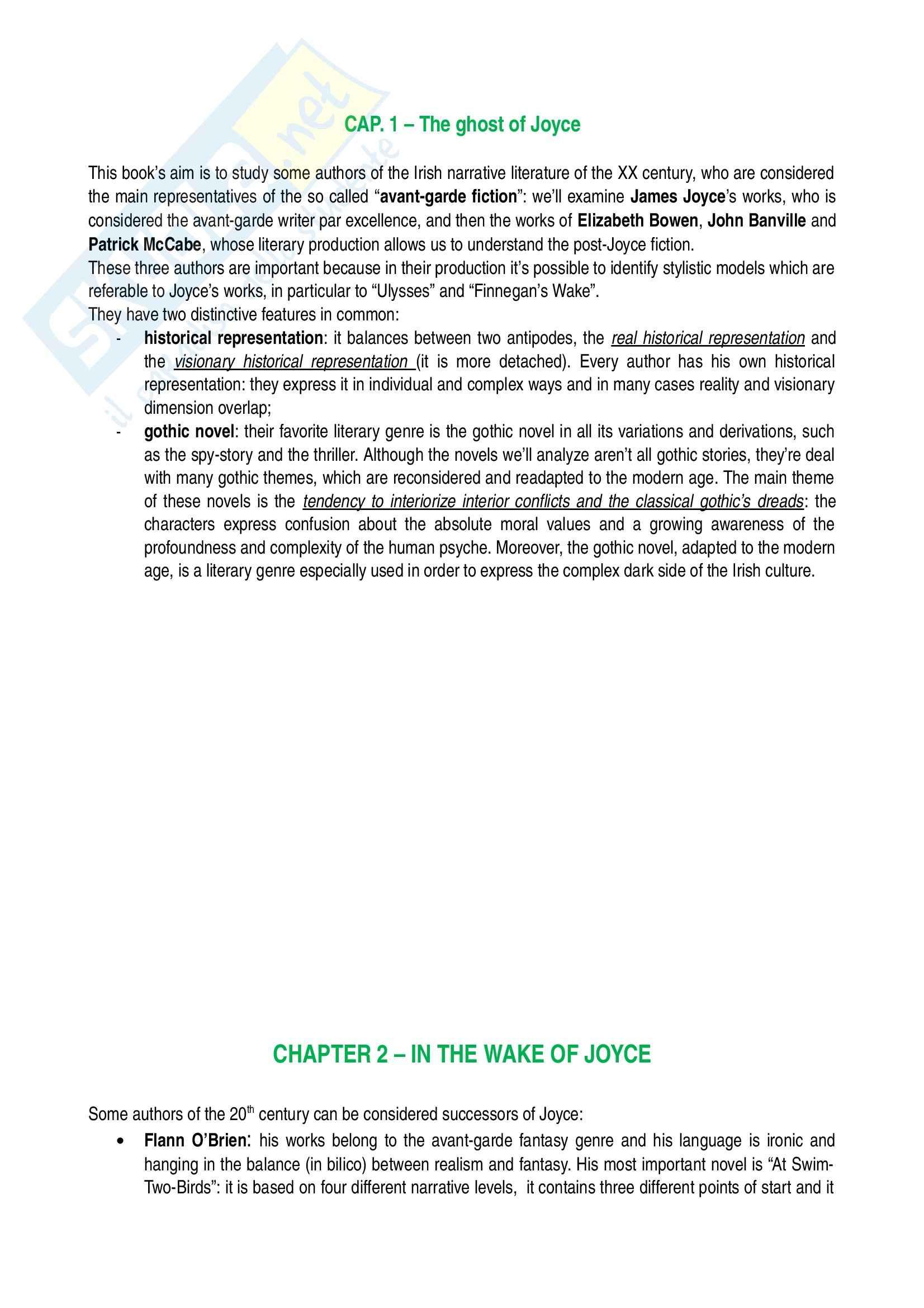 Riassunto esame Letteratura inglese, prof. Bendelli, libro consigliato La Veglia di Joyce, Bendelli
