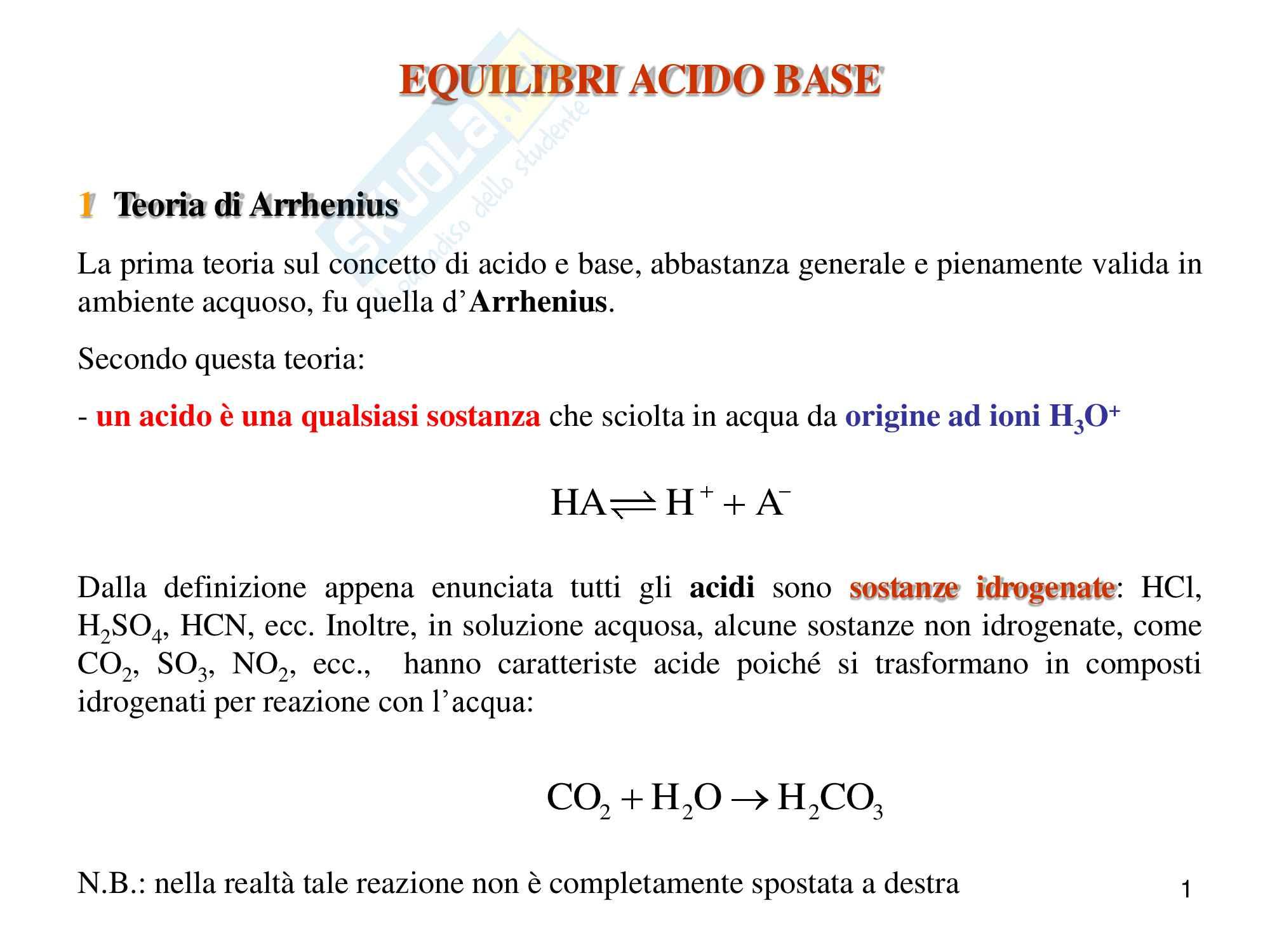 Chimica analitica, equilibrio acido base