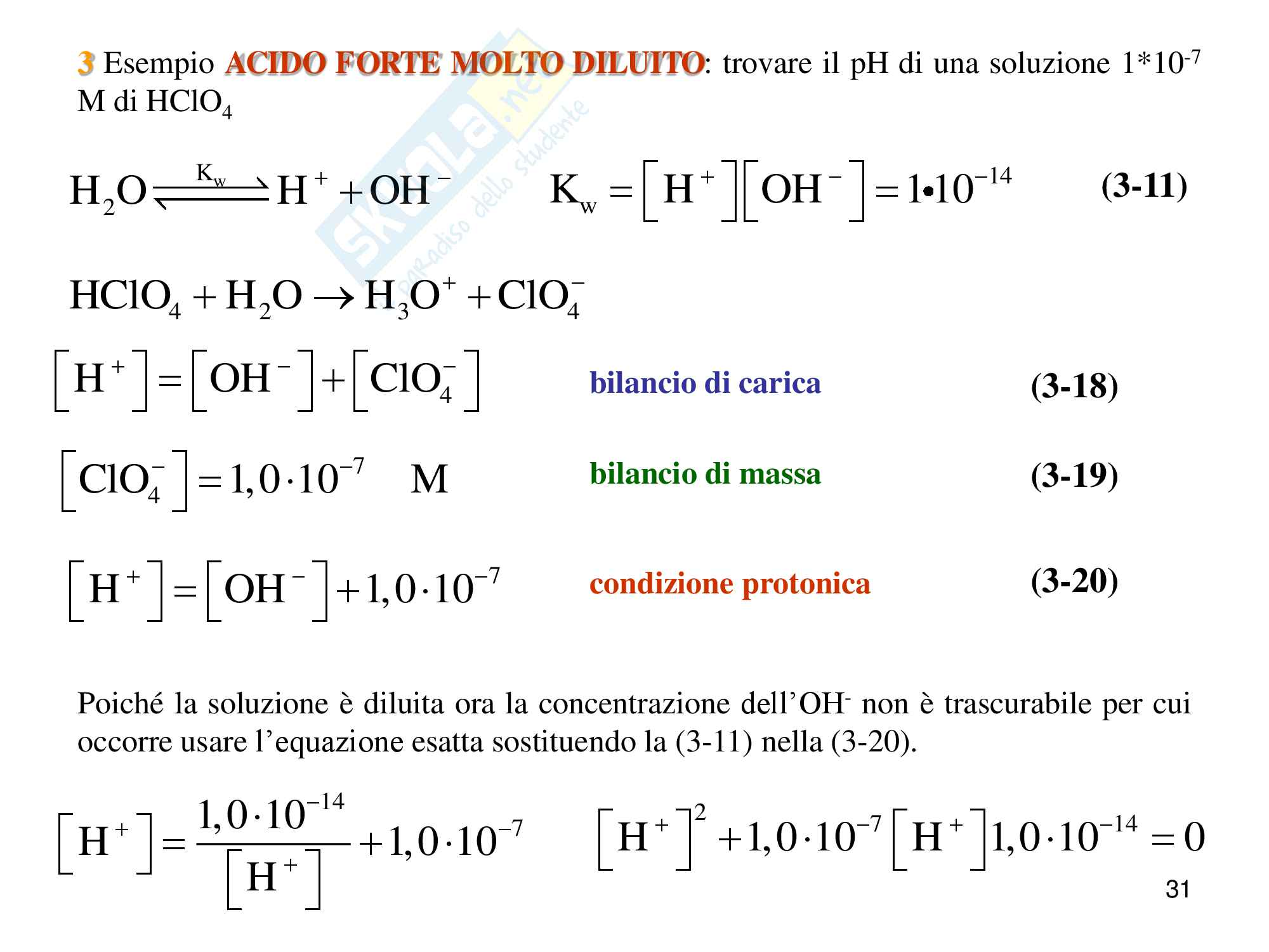 Chimica analitica, equilibrio acido base Pag. 31