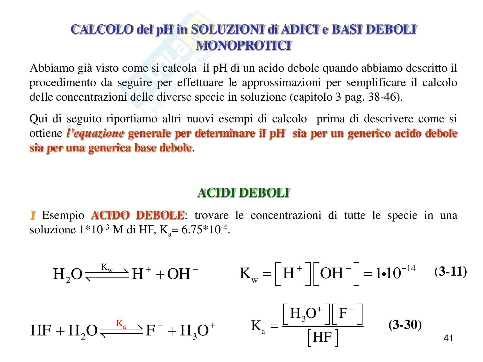 Chimica analitica, equilibrio acido base Pag. 41