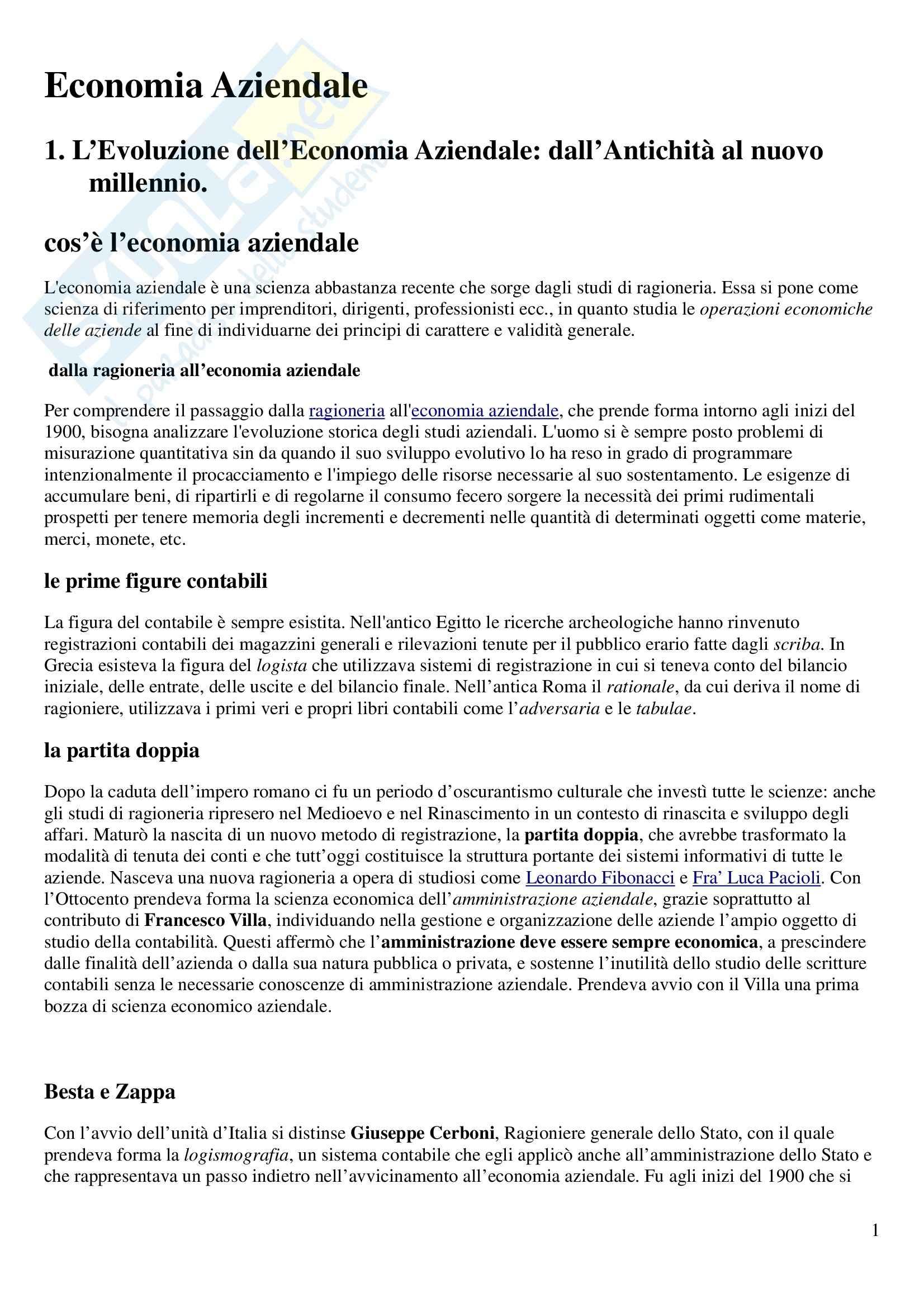 Economia aziendale - Riassunto esame, prof. Scozzese