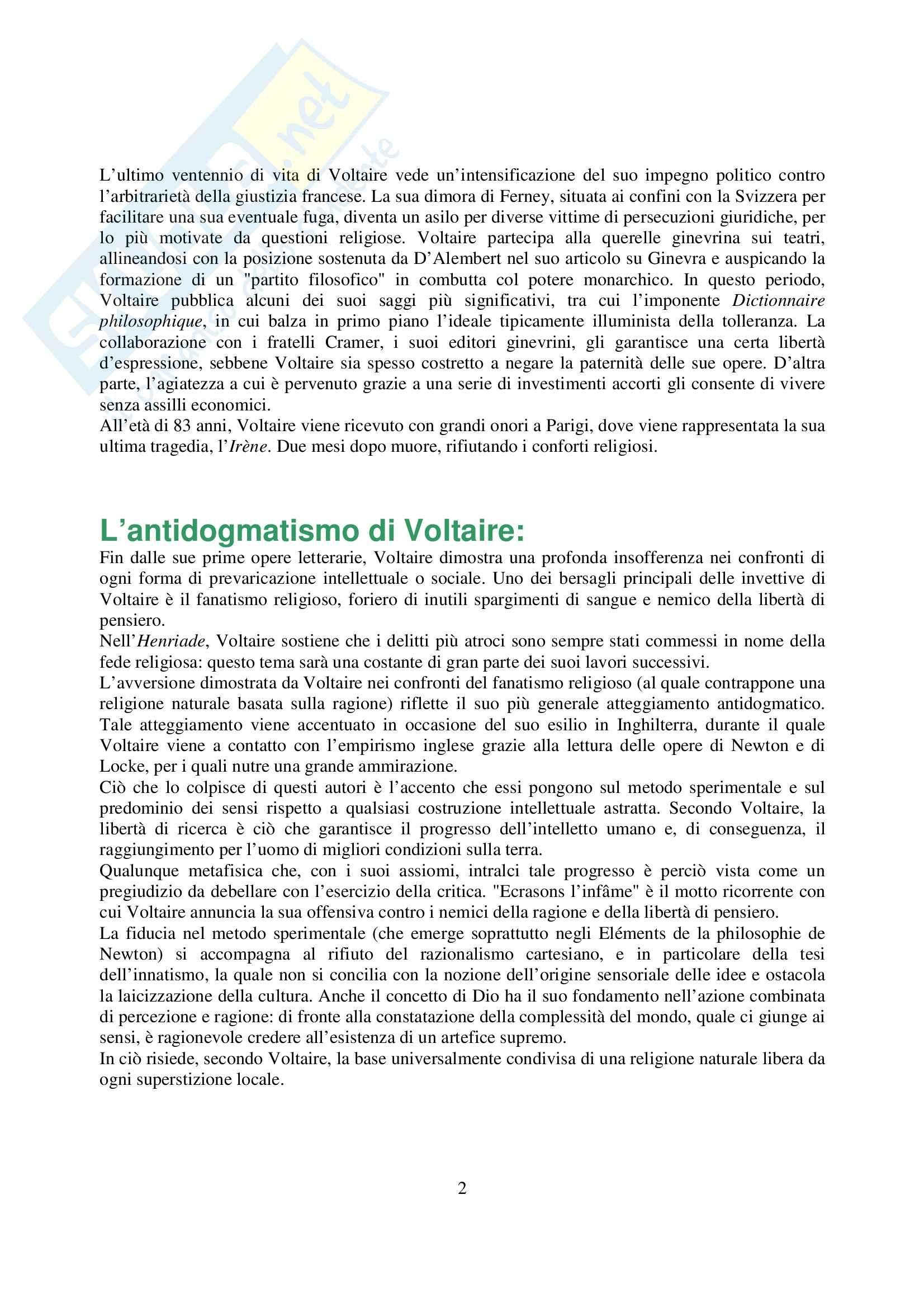 Letteratura francese - vita e opere di Voltaire - Appunti Pag. 2
