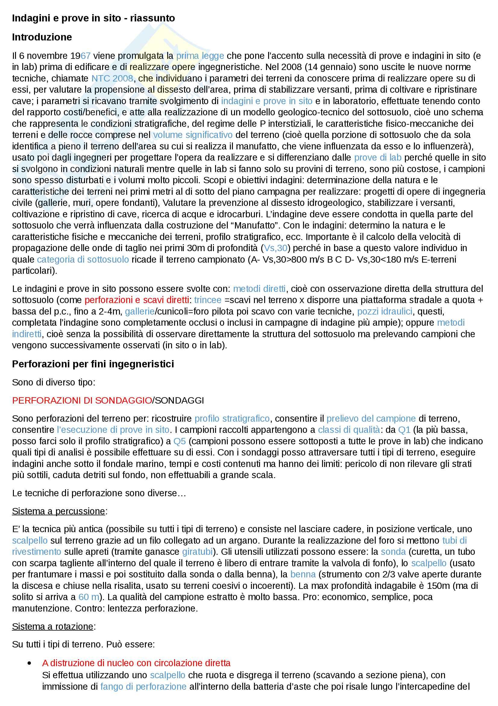 Indagini e prove in sito - riassunto dettagliato per il corso